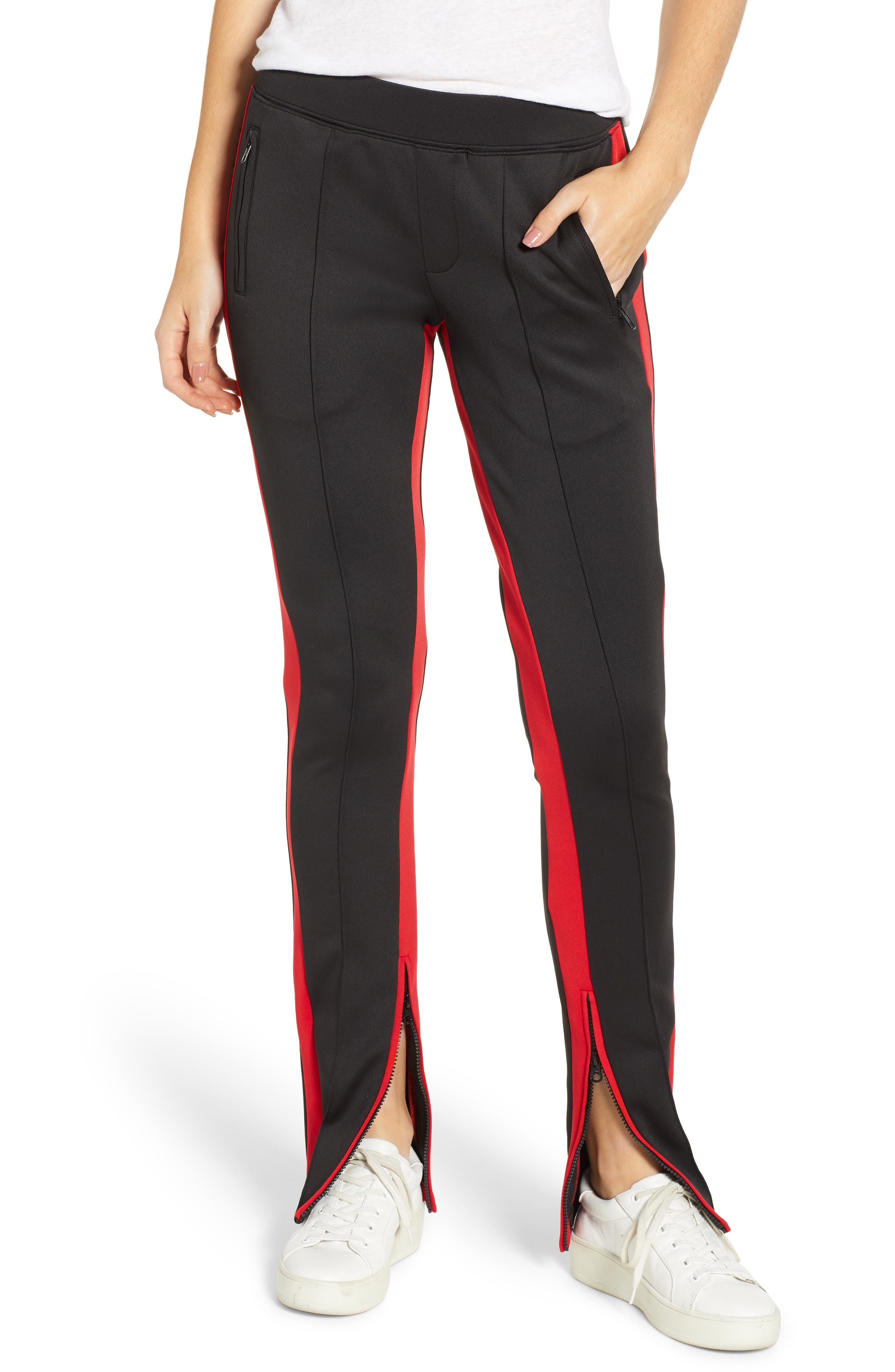 Side Stripe Cigarette Track Pants,                         Main,                         color, BLACK