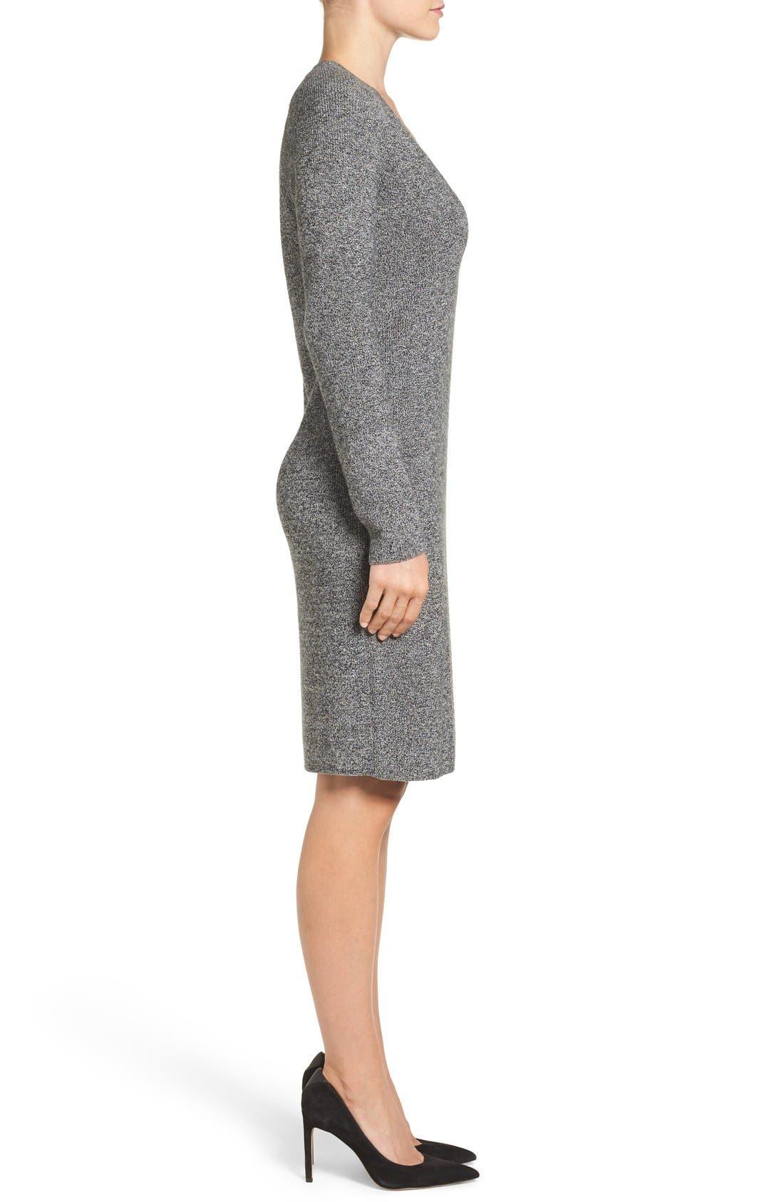 V-Neck Sweater Dress,                             Alternate thumbnail 8, color,                             BLACK- WHITE MARL