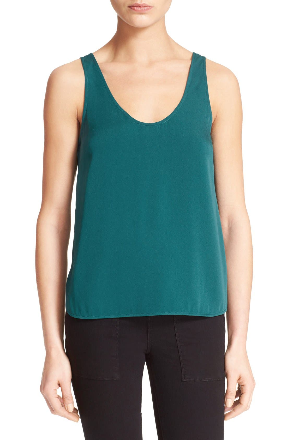 'The Scoop' Stretch Silk Tank, Main, color, 300