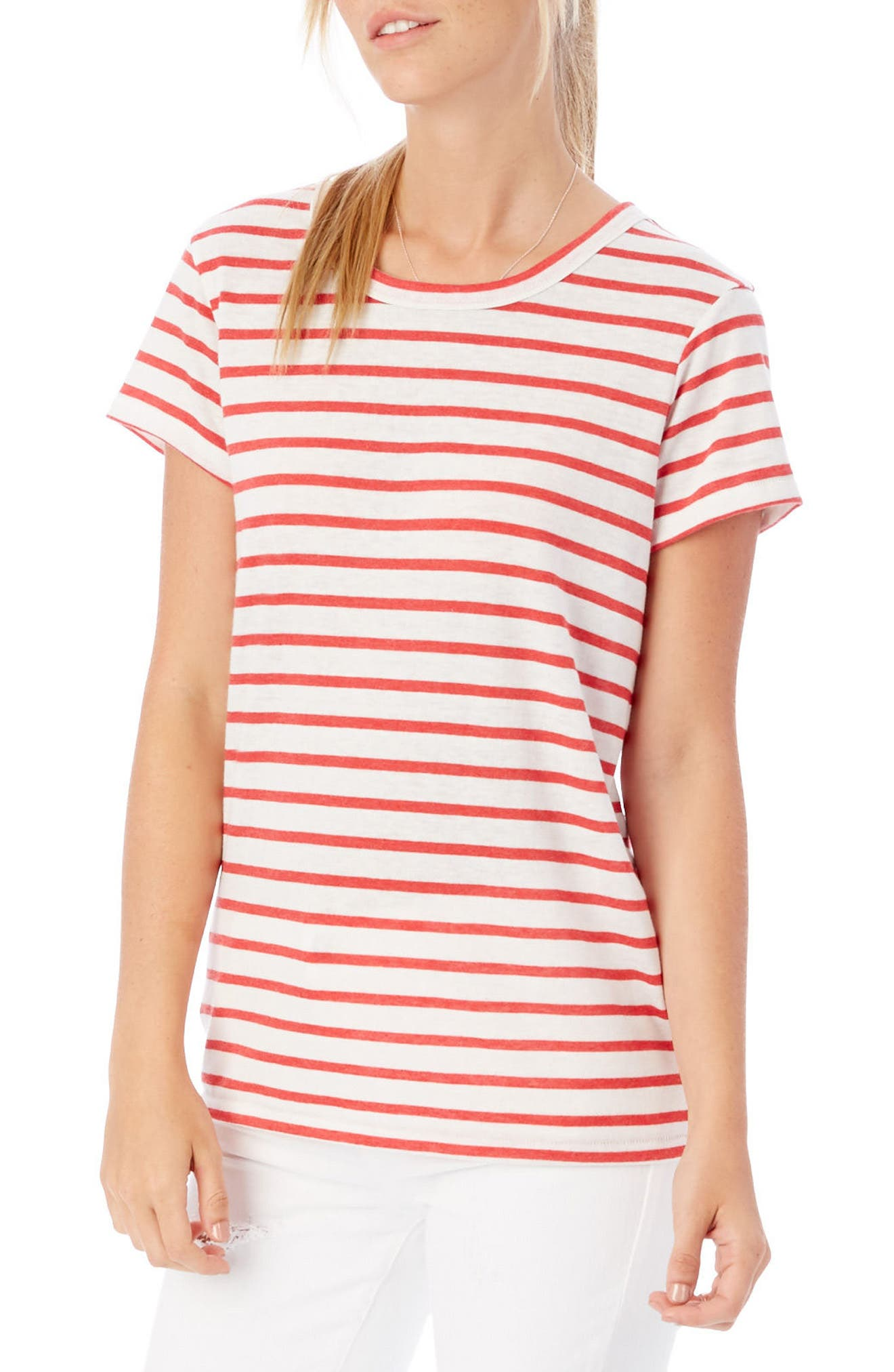 Ideal Stripe Lounge Tee,                             Main thumbnail 1, color,                             RED RIVIERA STRIPE