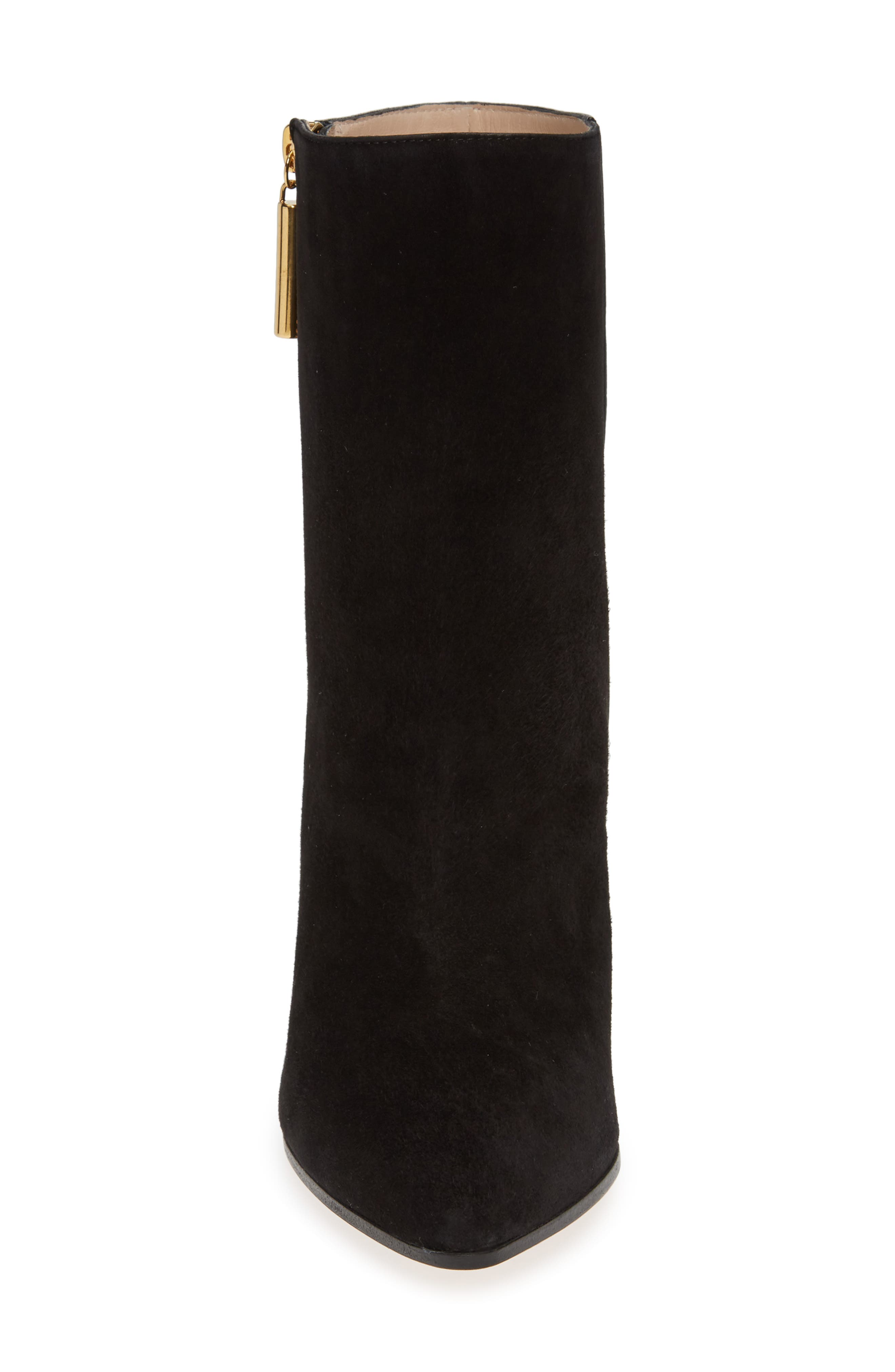 Cone Heel Bootie,                             Alternate thumbnail 4, color,                             PITCH BLACK COMBO SUEDE