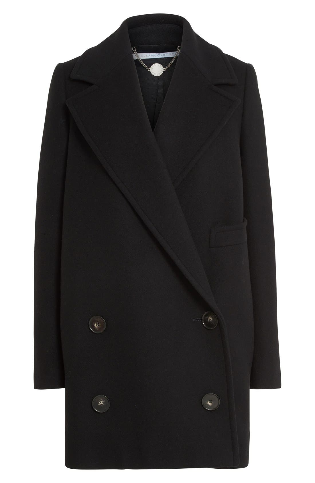 'Edith' Double Breasted Wool Blend Coat,                             Alternate thumbnail 6, color,                             001