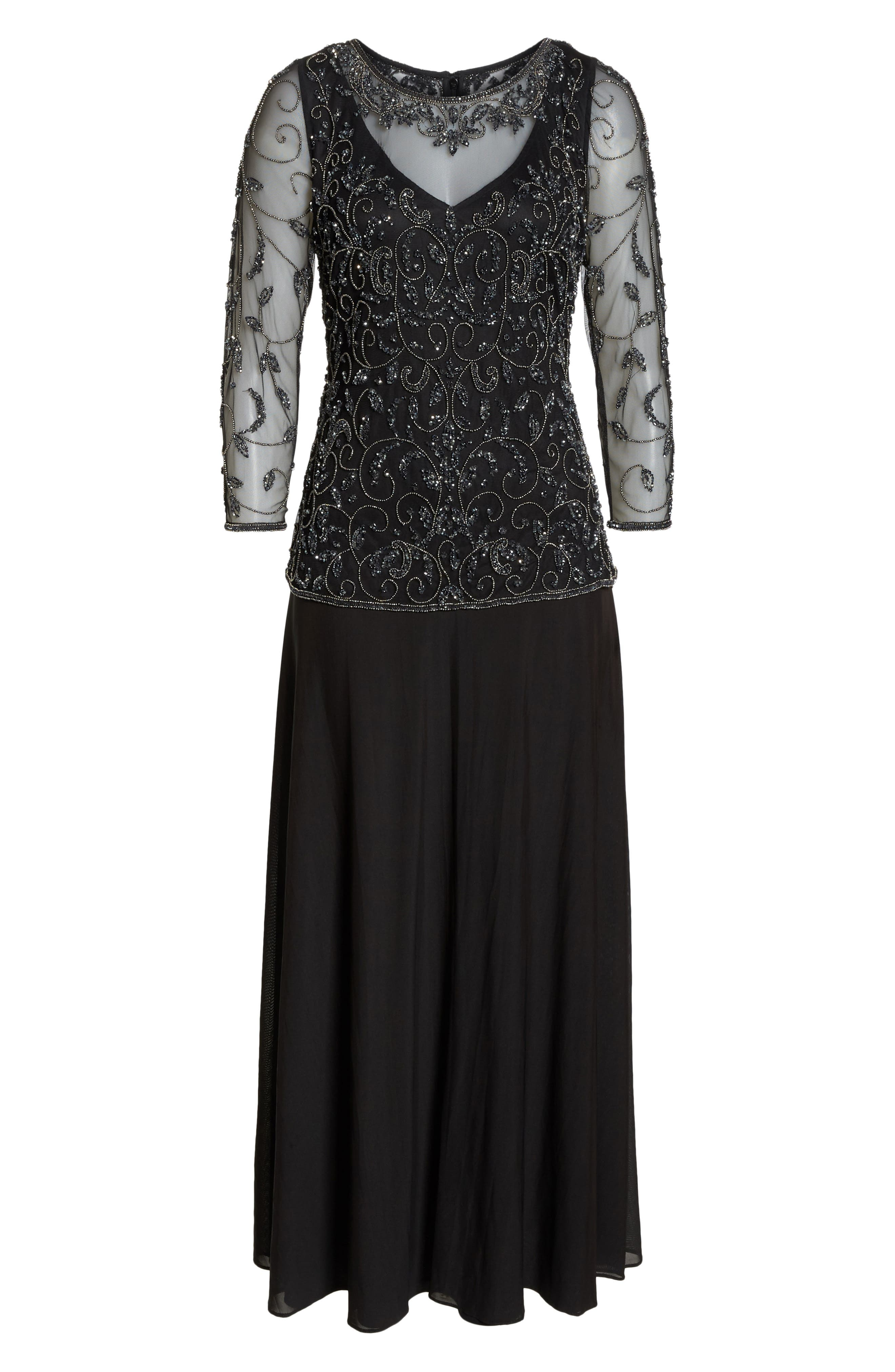 Beaded Mesh Mock Two-Piece Gown,                             Alternate thumbnail 7, color,                             BLACK