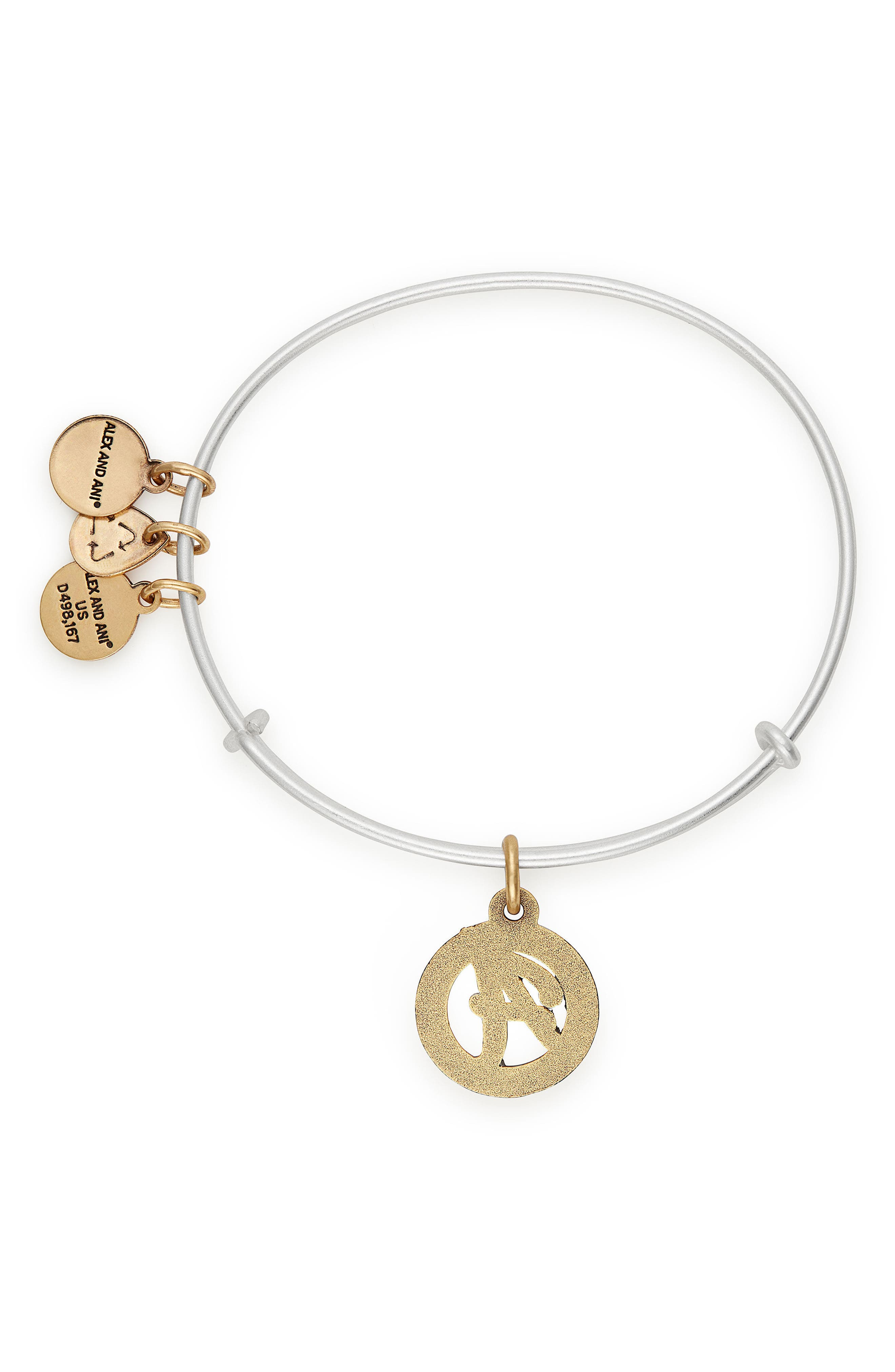 Two-Tone Initial Charm Expandable Bracelet,                             Alternate thumbnail 2, color,                             TWO-TONE-A