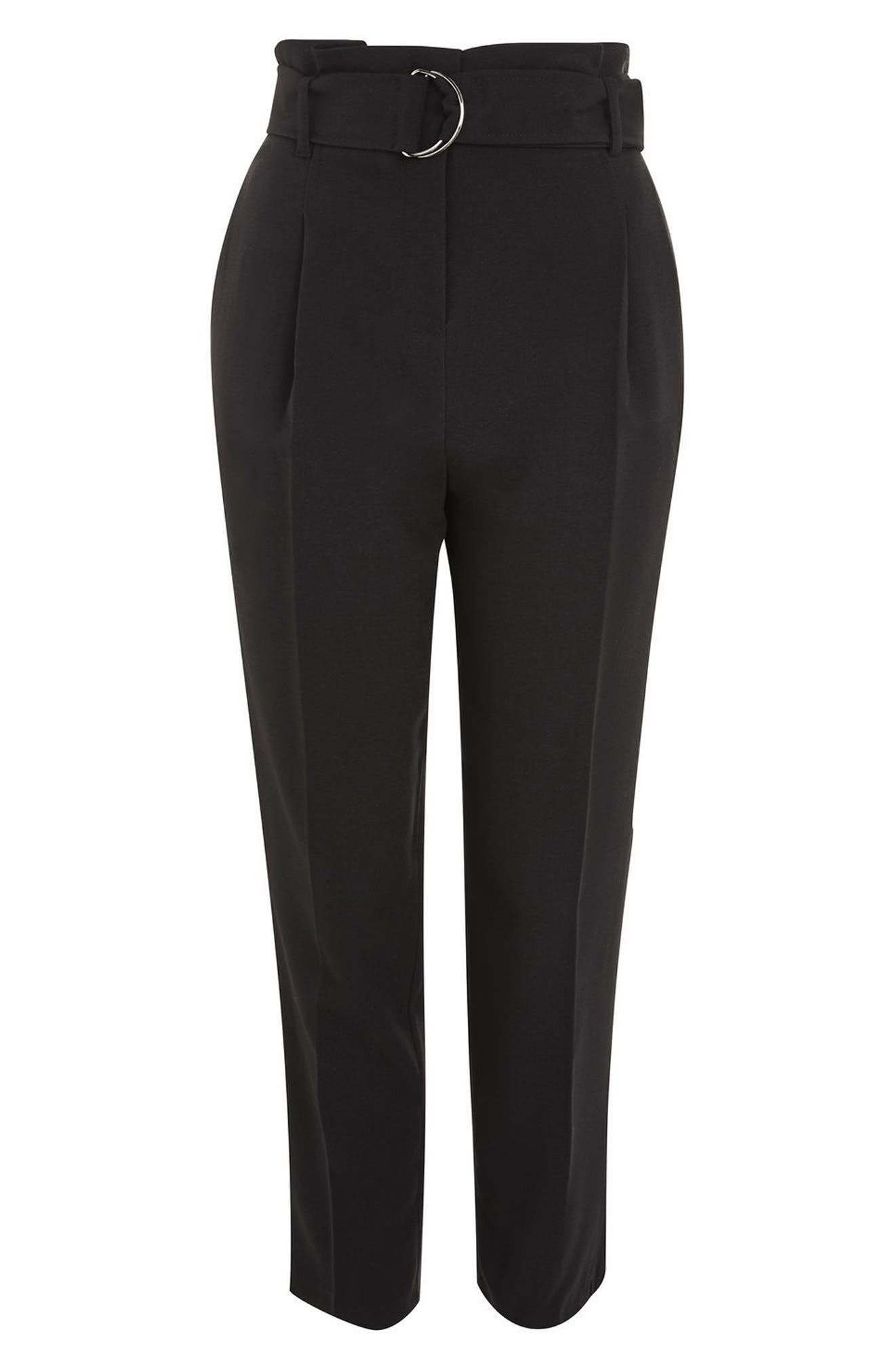 Belted Paperbag Peg Trousers,                             Alternate thumbnail 4, color,                             001