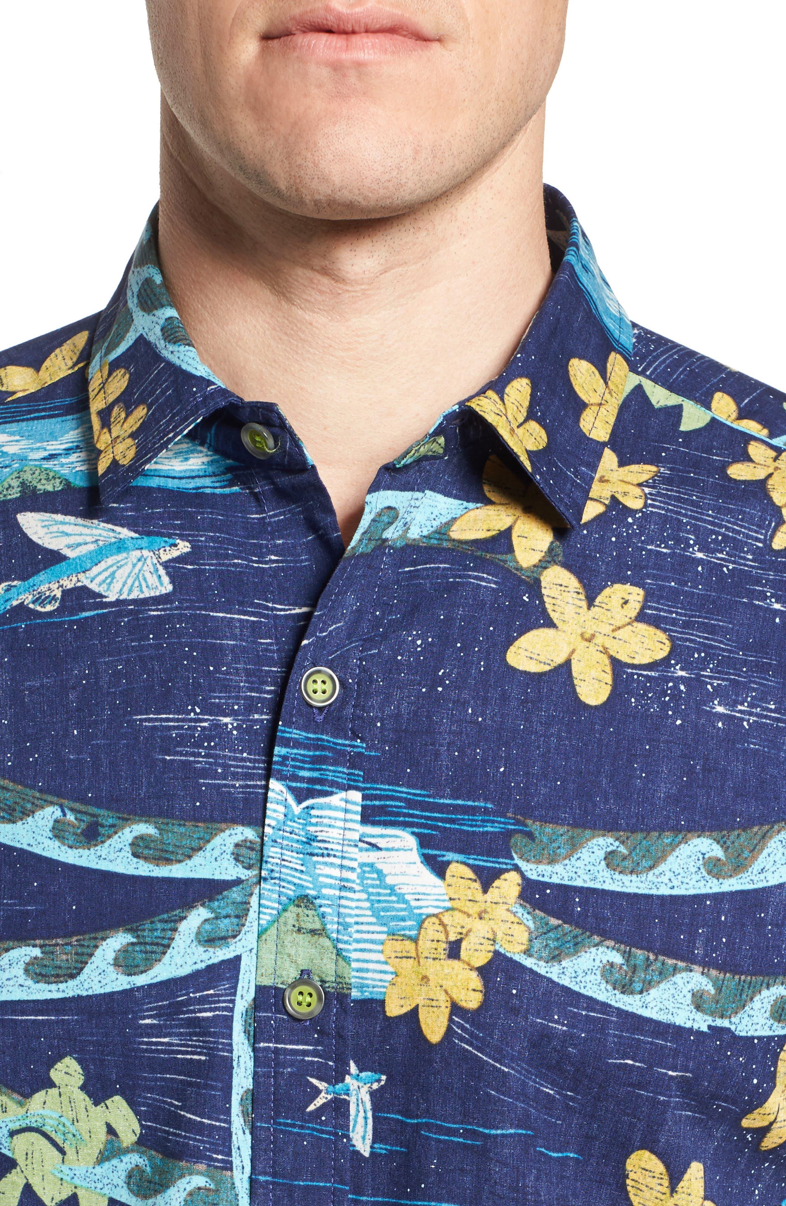 Sea Flight Trim Fit Sport Shirt,                             Alternate thumbnail 4, color,                             415