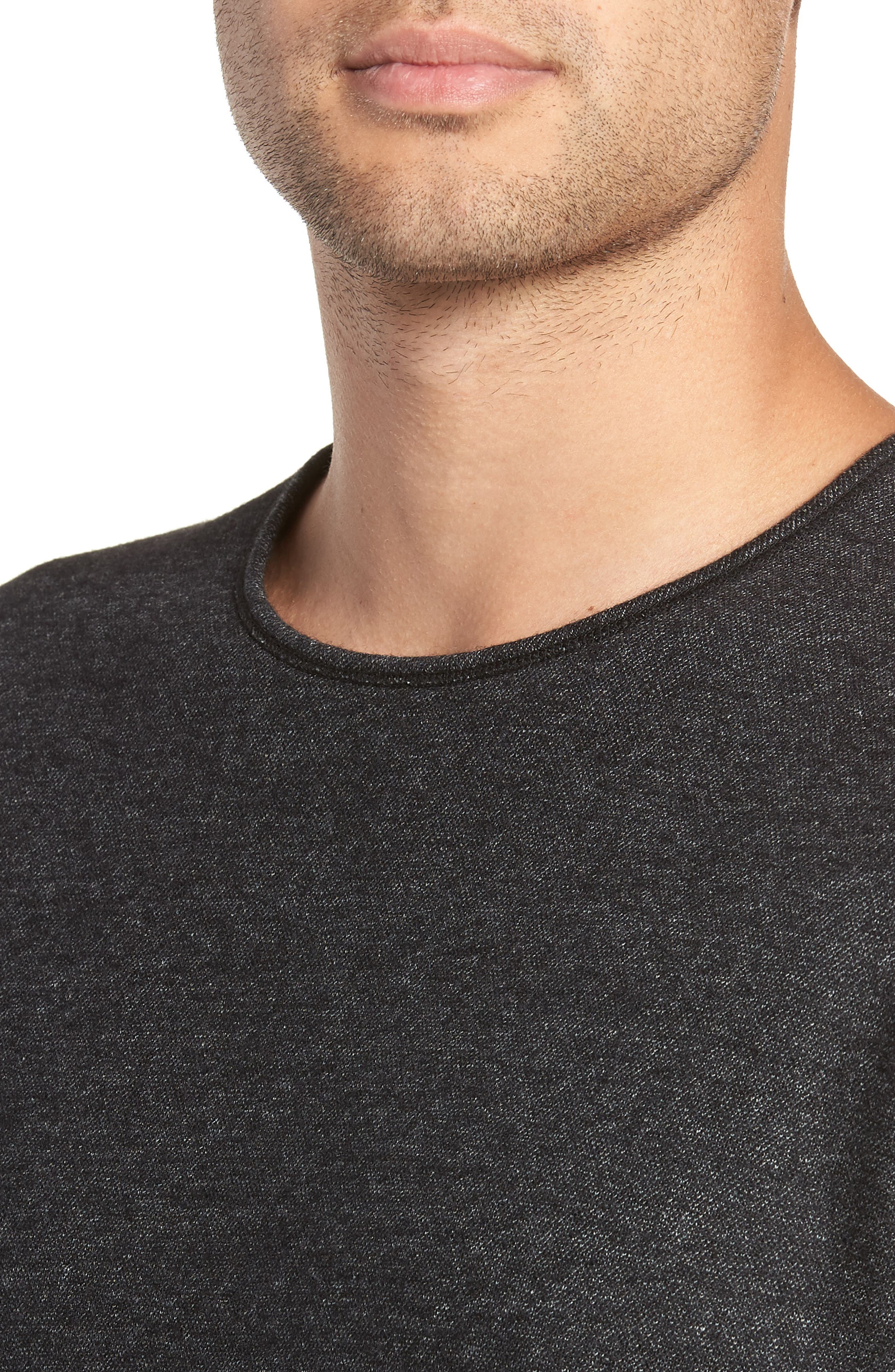 Crewneck Wool Blend Sweater,                             Alternate thumbnail 4, color,                             MEDIUM BLACK