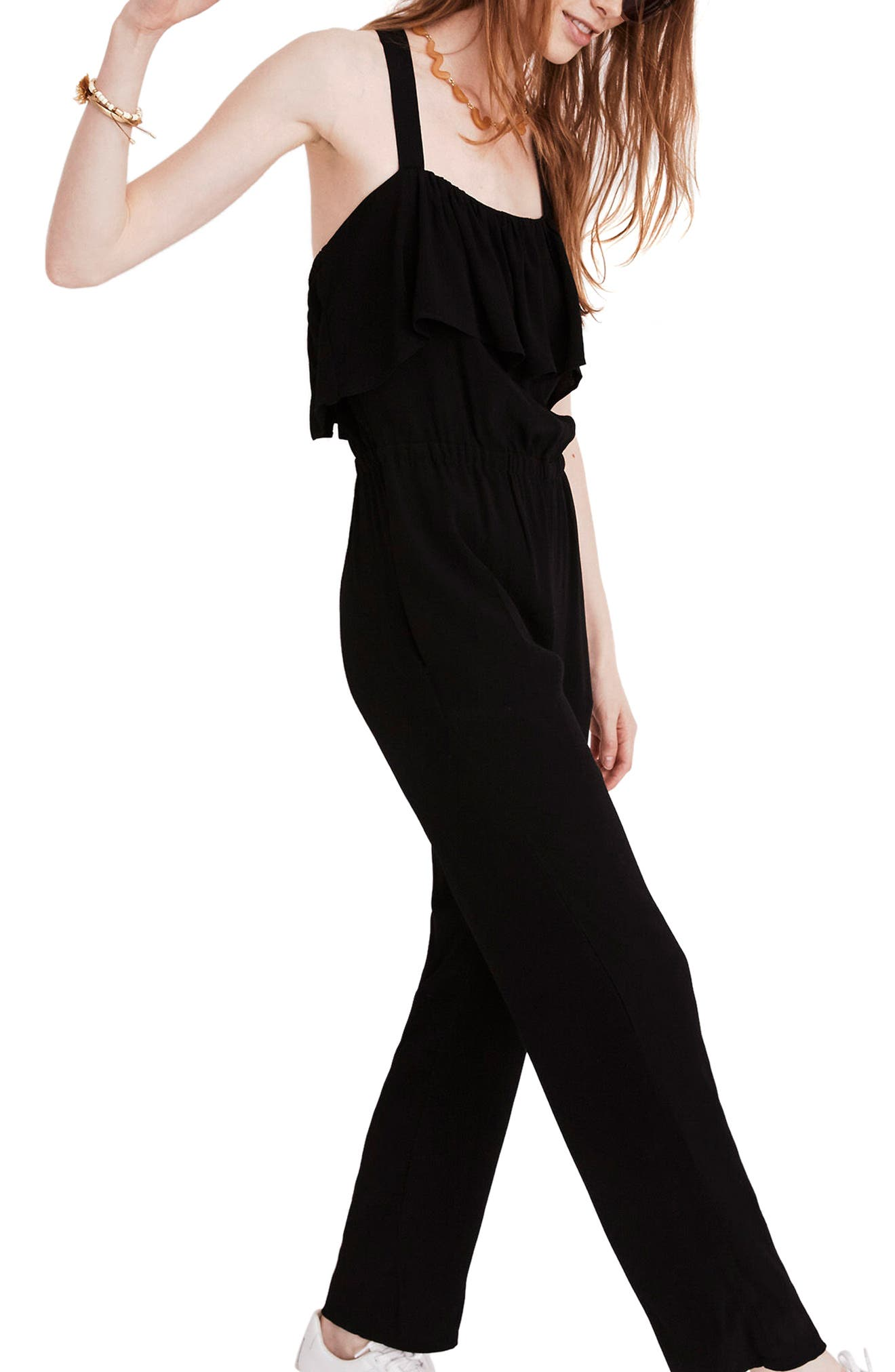 Apron Ruffle Jumpsuit,                             Alternate thumbnail 3, color,                             001