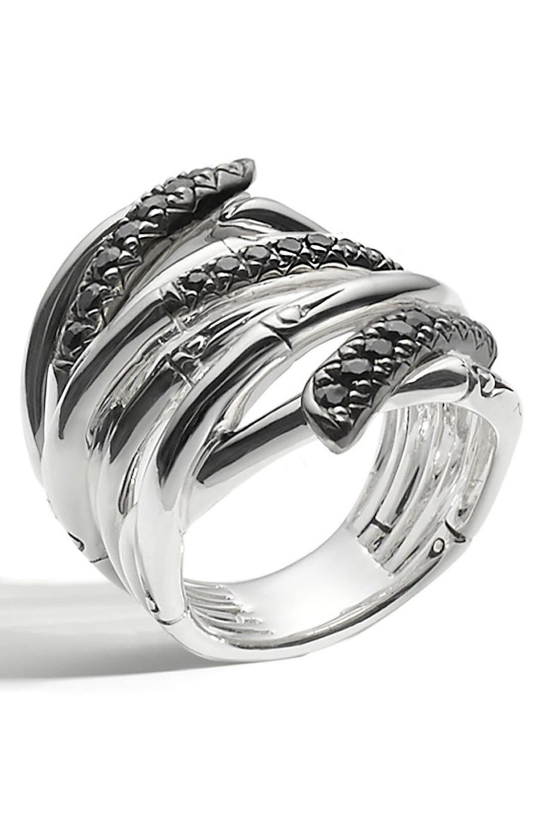 'Bamboo - Lava' Extra Wide Sapphire Stack Ring,                             Alternate thumbnail 6, color,                             SILVER/ BLACK SAPPHIRE