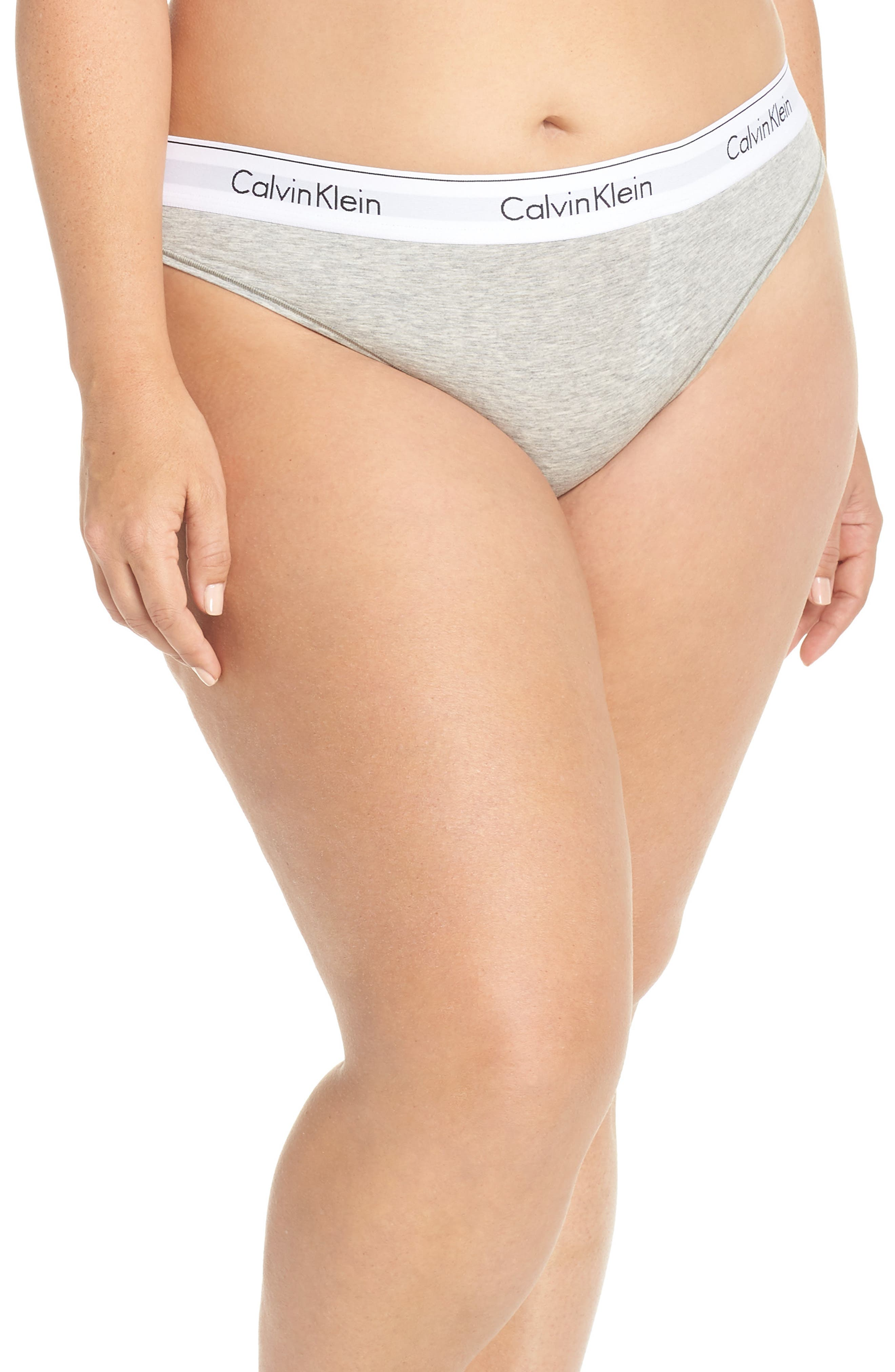 Modern Cotton-Blend Thong, Main, color, GREY HEATHER