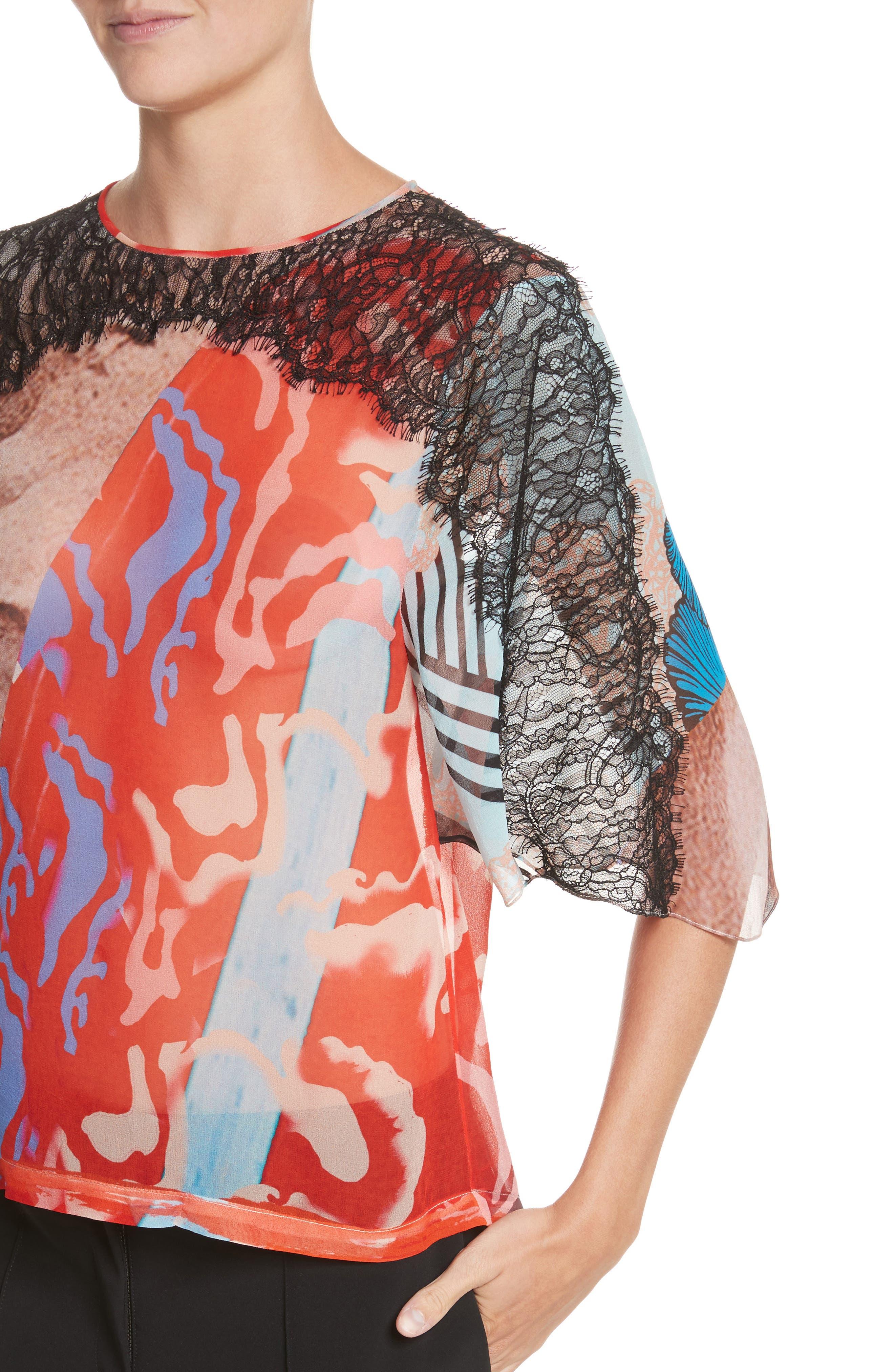 Lace & Print Silk Top,                             Alternate thumbnail 4, color,                             600