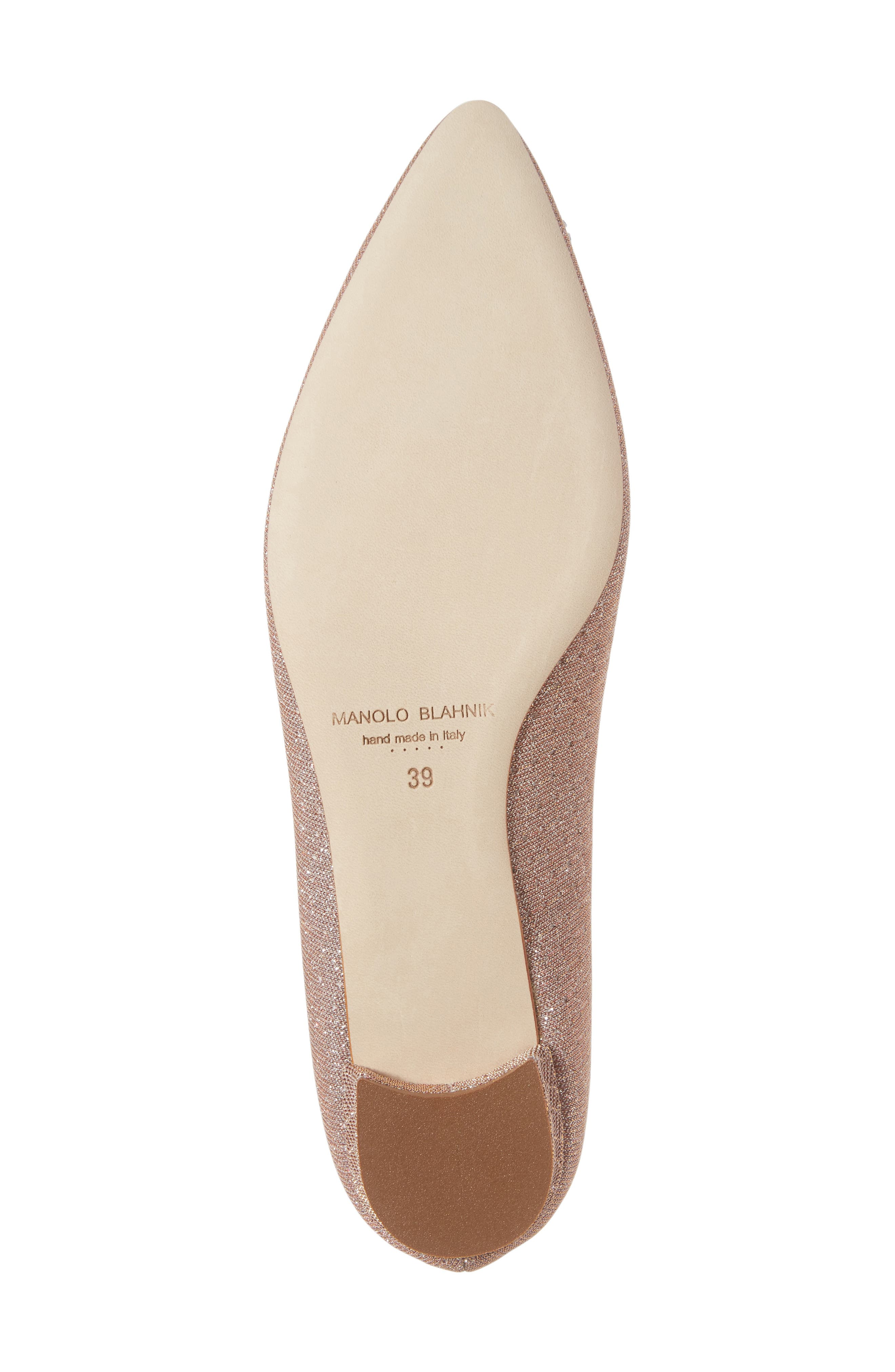 MANOLO BLAHNIK,                             'Hangisi' Jeweled Pointy Toe Flat,                             Alternate thumbnail 6, color,                             CHAMPAGNE FABRIC