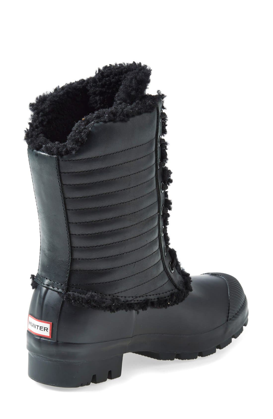 Original Genuine Shearling & Patent Leather Lace-Up Rain Boot,                             Alternate thumbnail 2, color,                             001