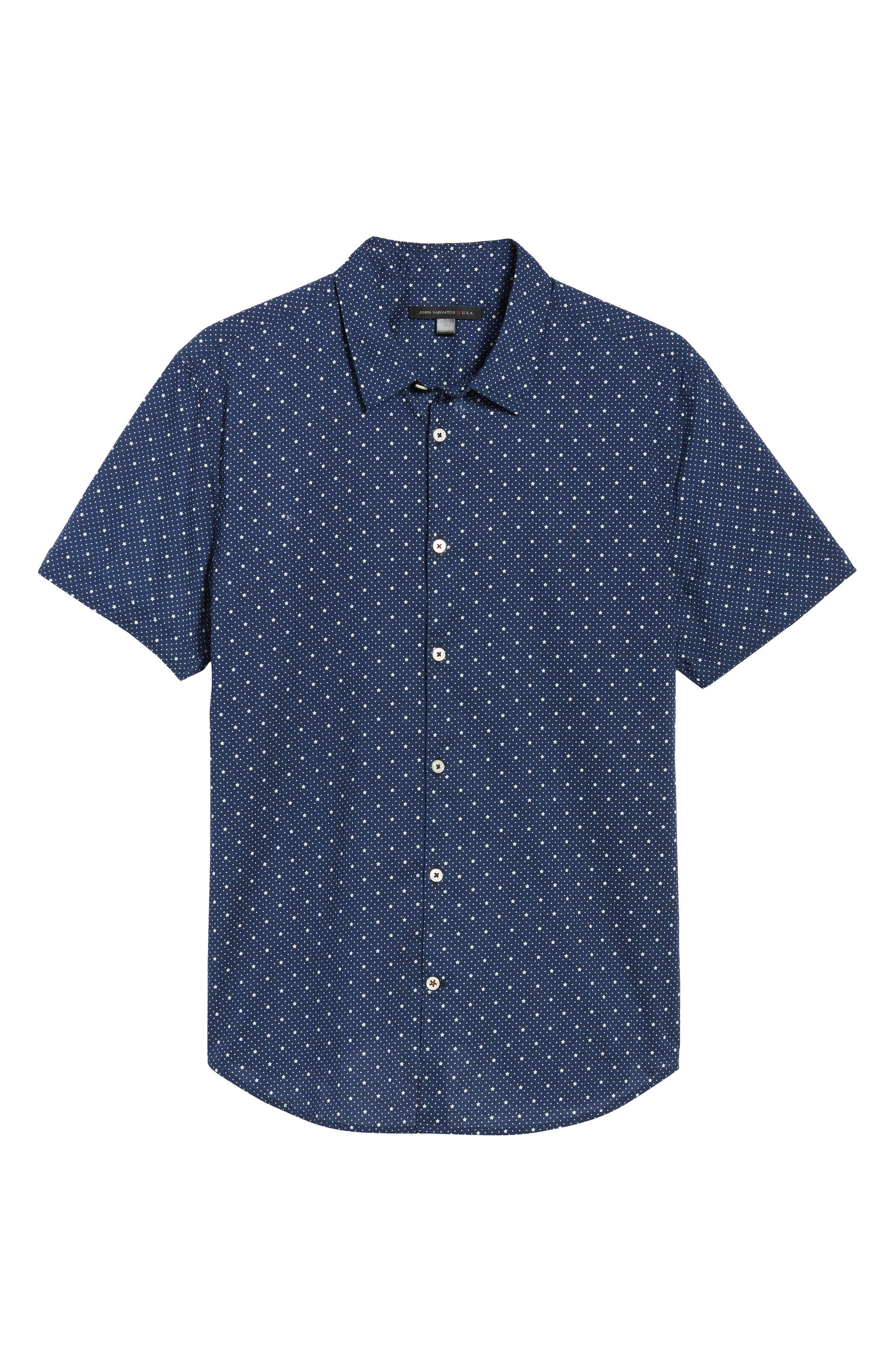 Star Print Woven Shirt,                             Alternate thumbnail 6, color,                             418
