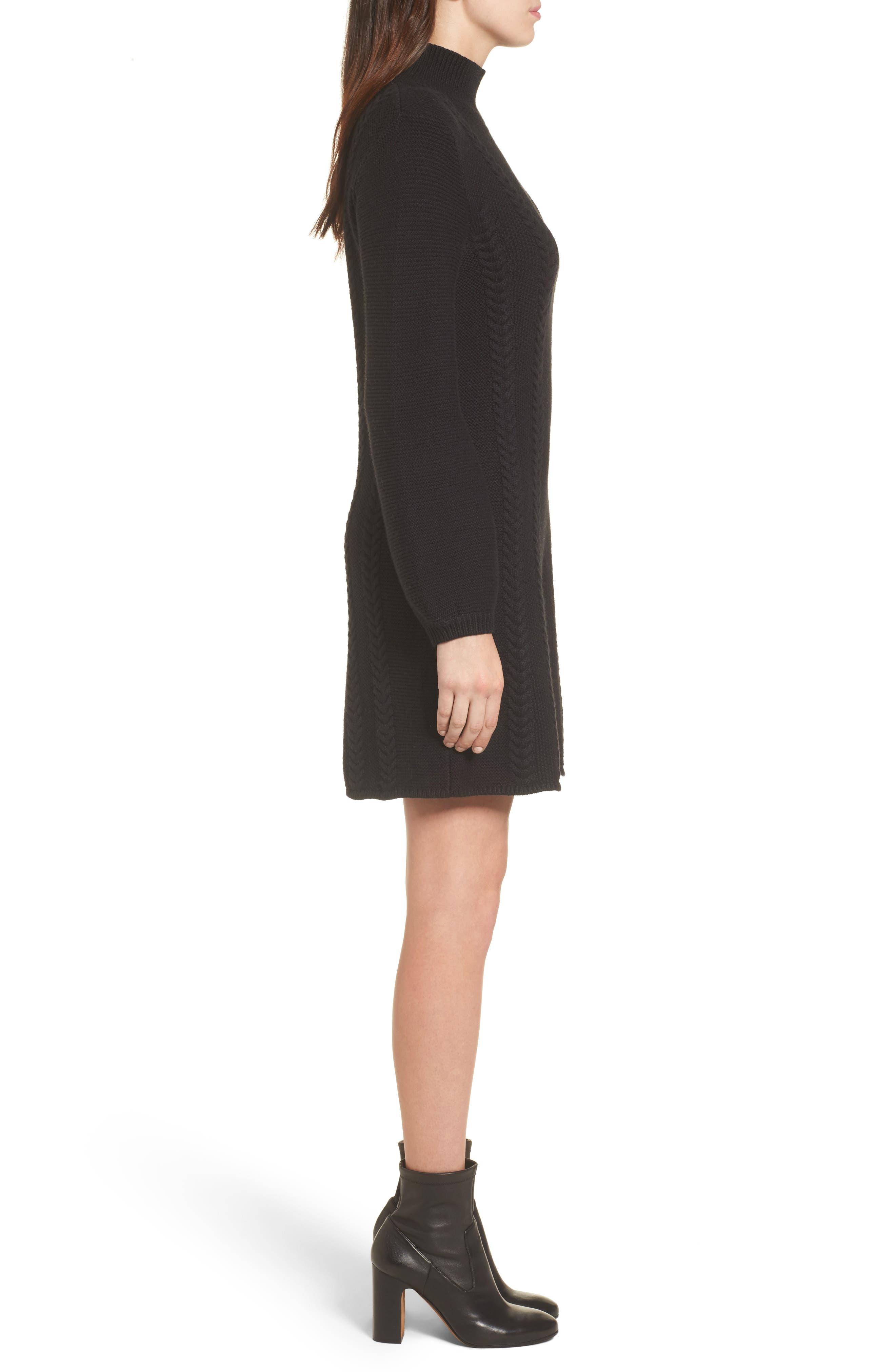 CASLON<SUP>®</SUP>,                             Cable Knit Sweater Dress,                             Alternate thumbnail 3, color,                             001