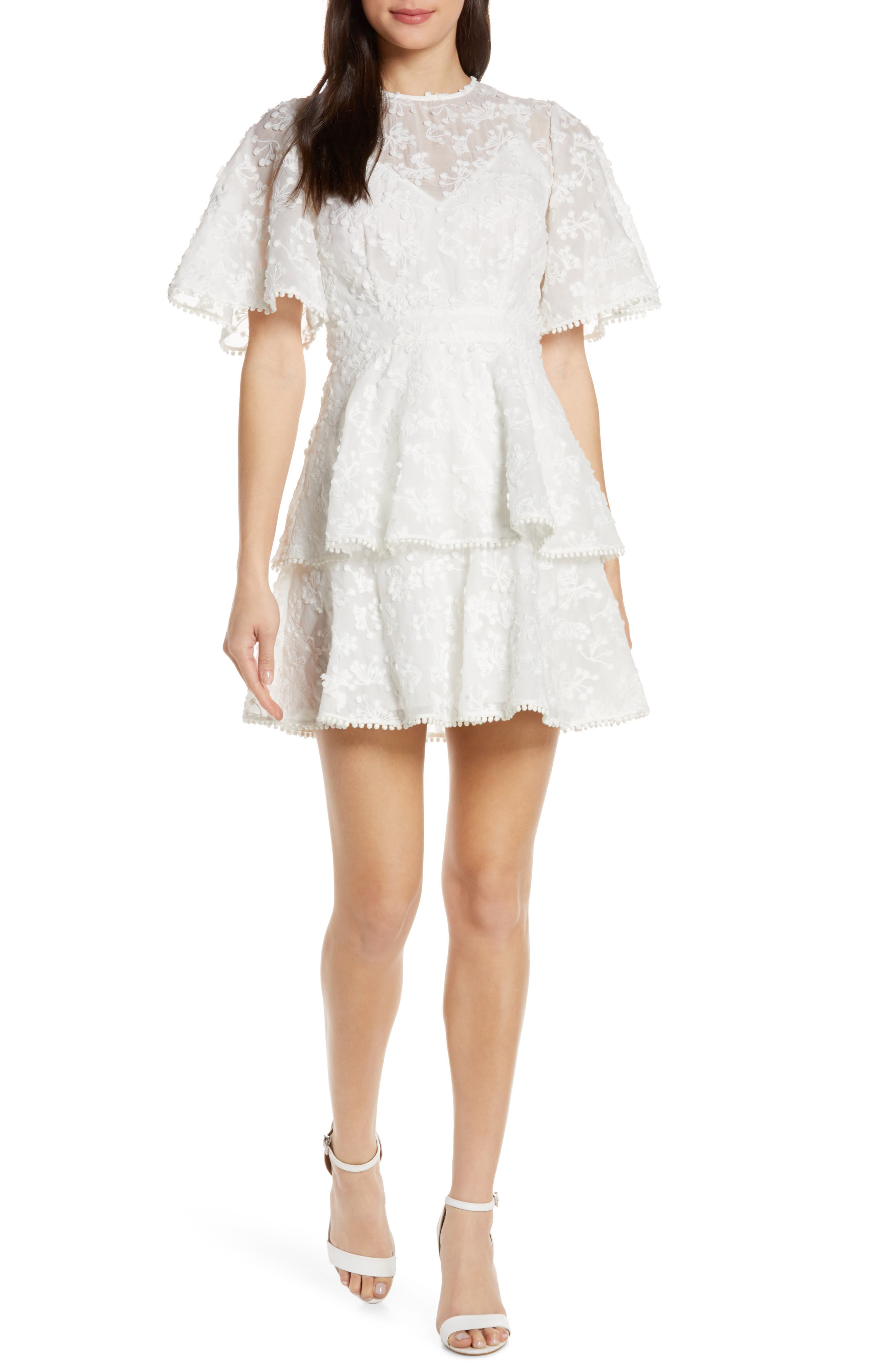 Keepsake The Label Wild Love Embroidered Party Dress, Ivory