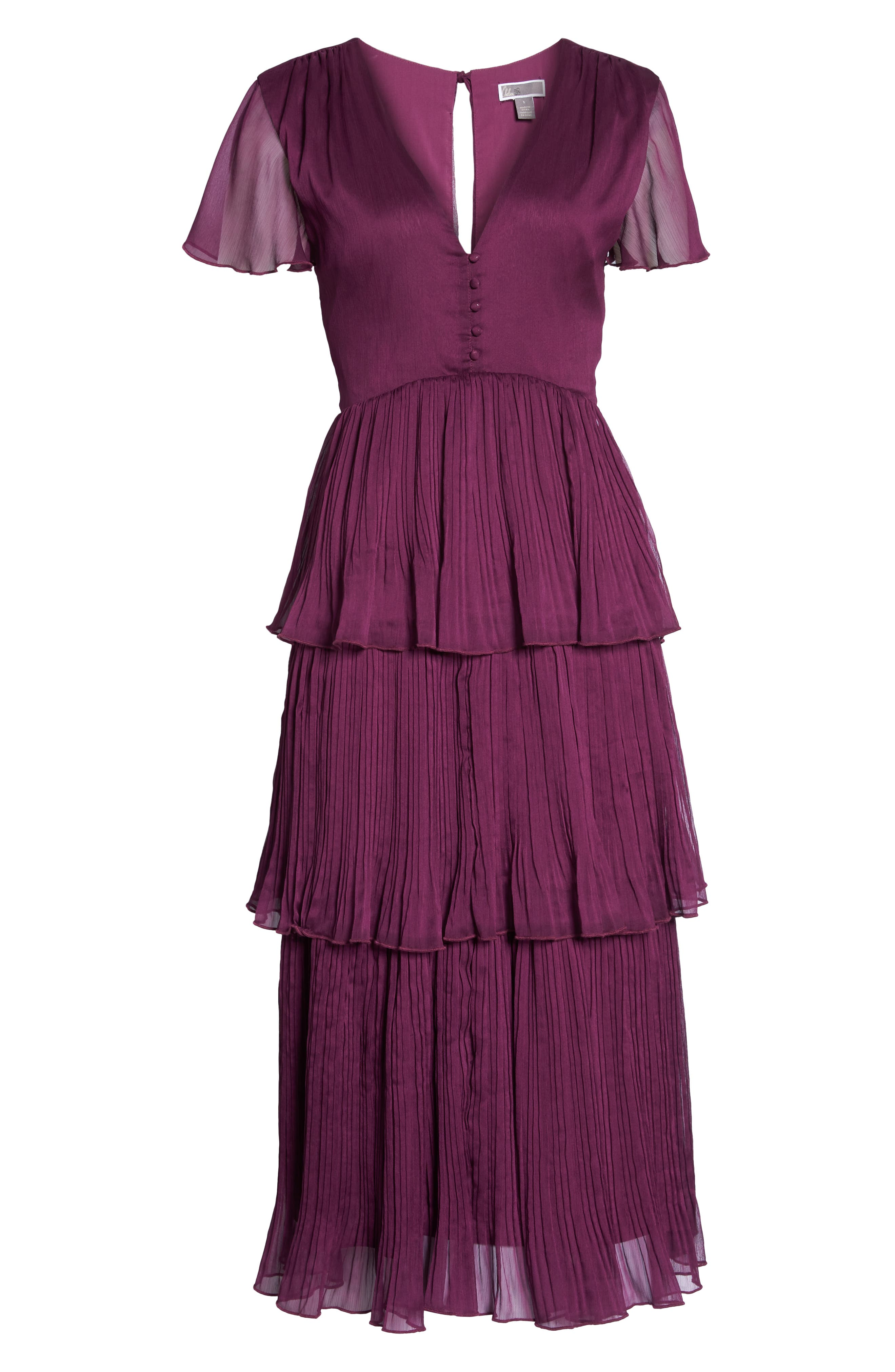 Tiered Skirt Midi Dress,                             Alternate thumbnail 7, color,                             PURPLE DARK