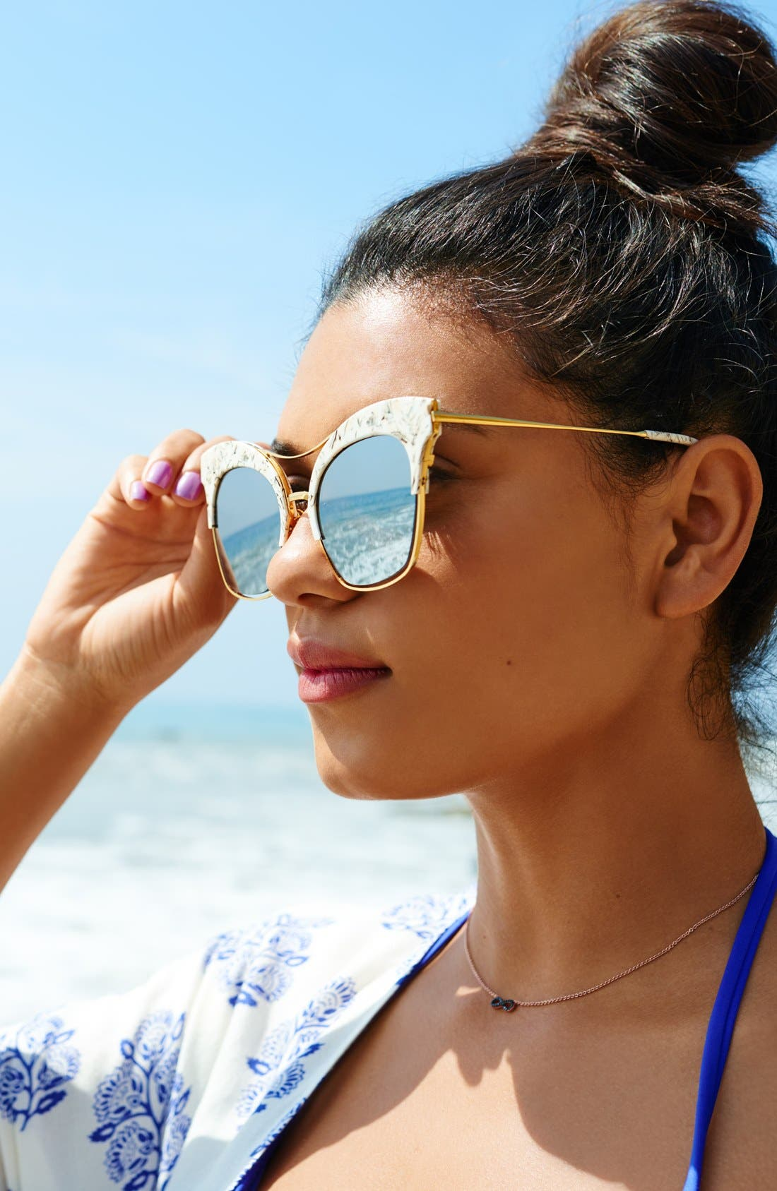GENTLE MONSTER,                             54mm Cat Eye Sunglasses,                             Main thumbnail 1, color,                             001