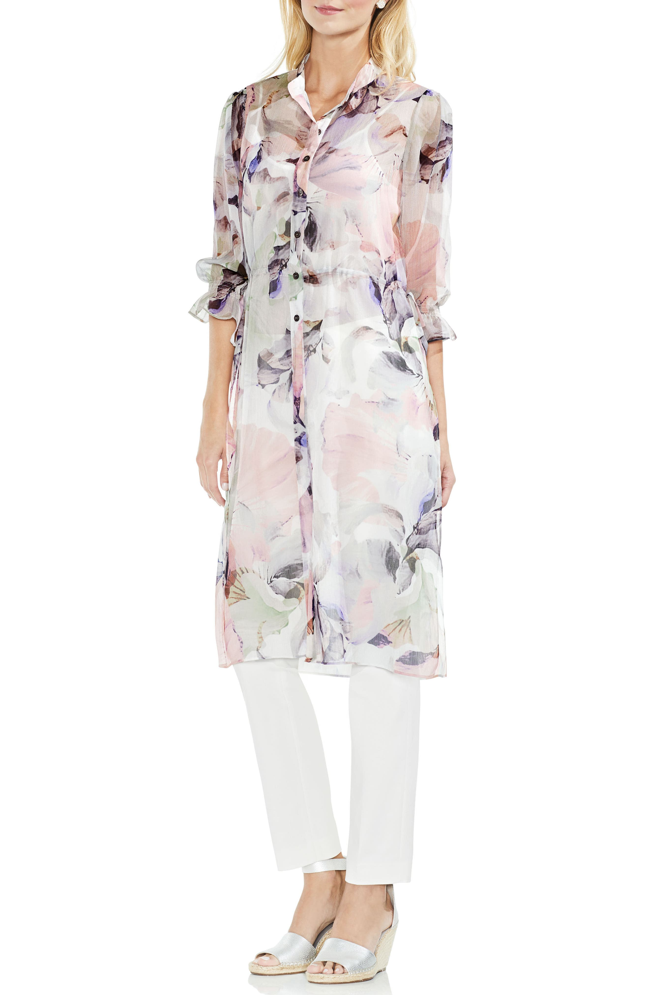 Diffused Bloom Side Tie Tunic,                             Alternate thumbnail 3, color,                             103