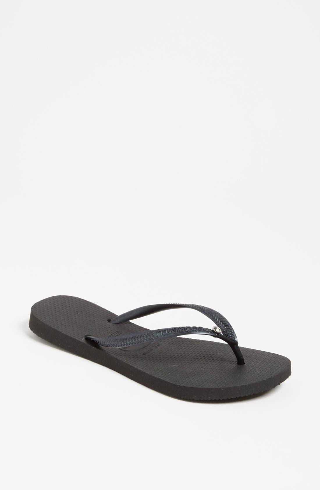 'Slim Crystal Glamour' Flip Flop,                         Main,                         color, BLACK
