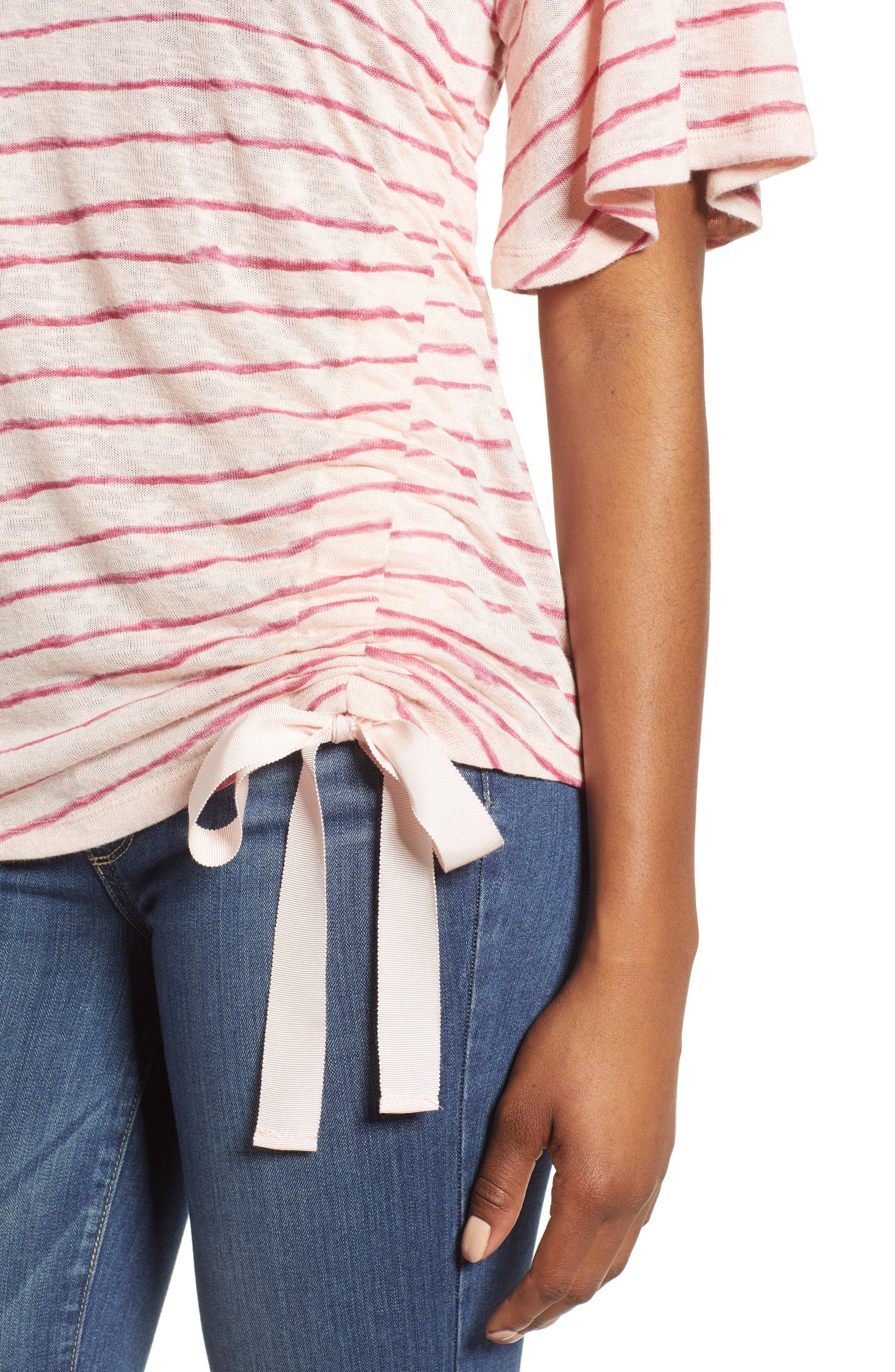 Ruched Side Ribbon Tee,                             Alternate thumbnail 9, color,