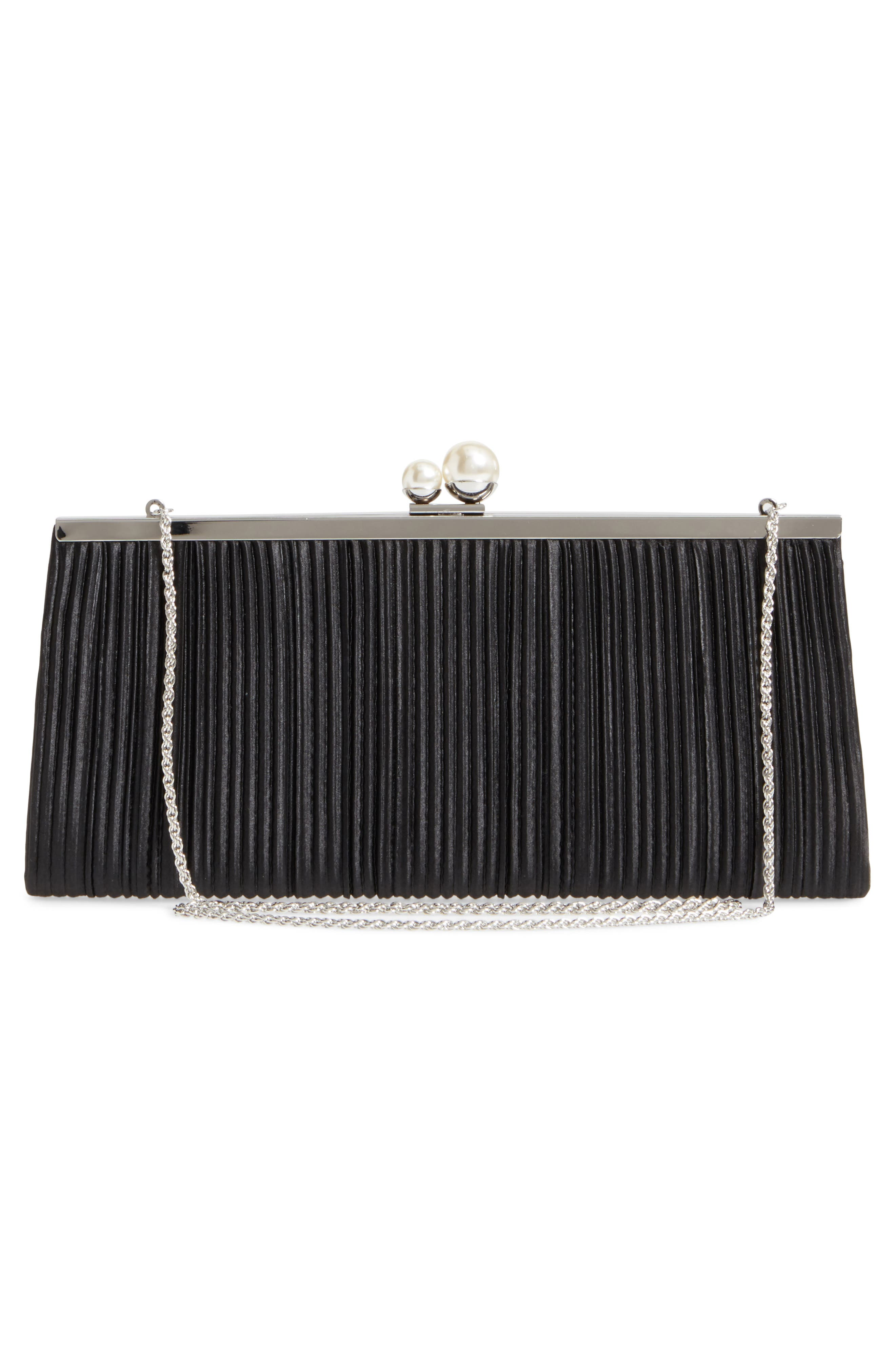 Anella Pleated Satin Frame Clutch,                             Alternate thumbnail 3, color,                             001