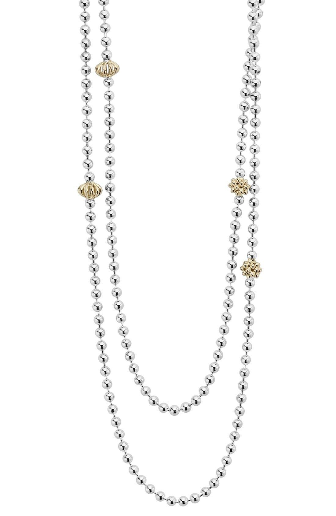 'Caviar Icon' Strand Necklace,                             Main thumbnail 1, color,                             SILVER/ GOLD