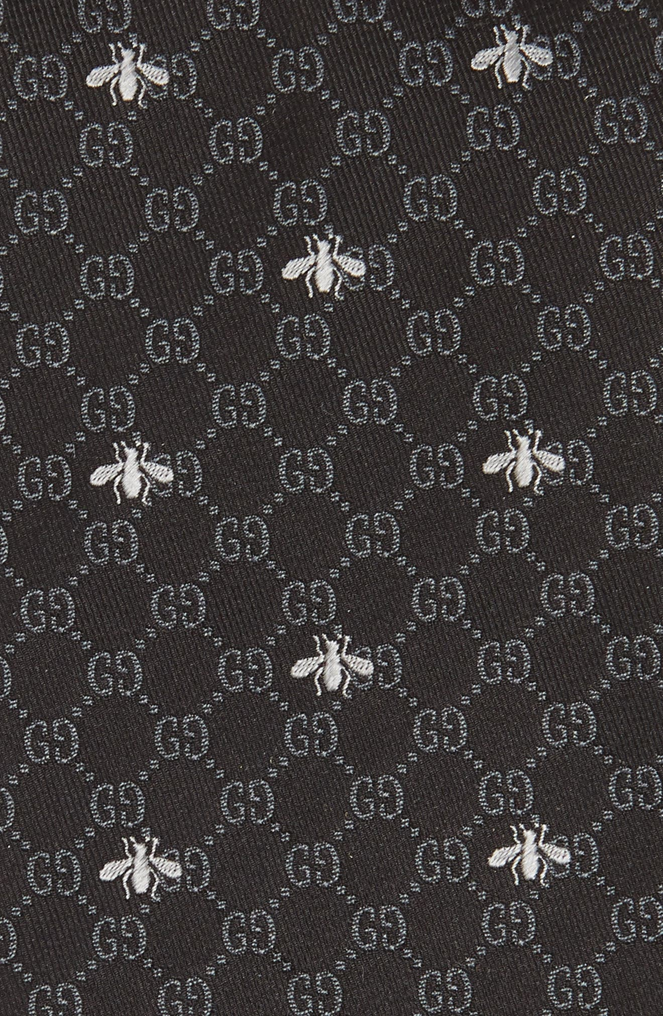 GG Bee Silk Tie,                             Alternate thumbnail 2, color,                             BLACK AND GREY