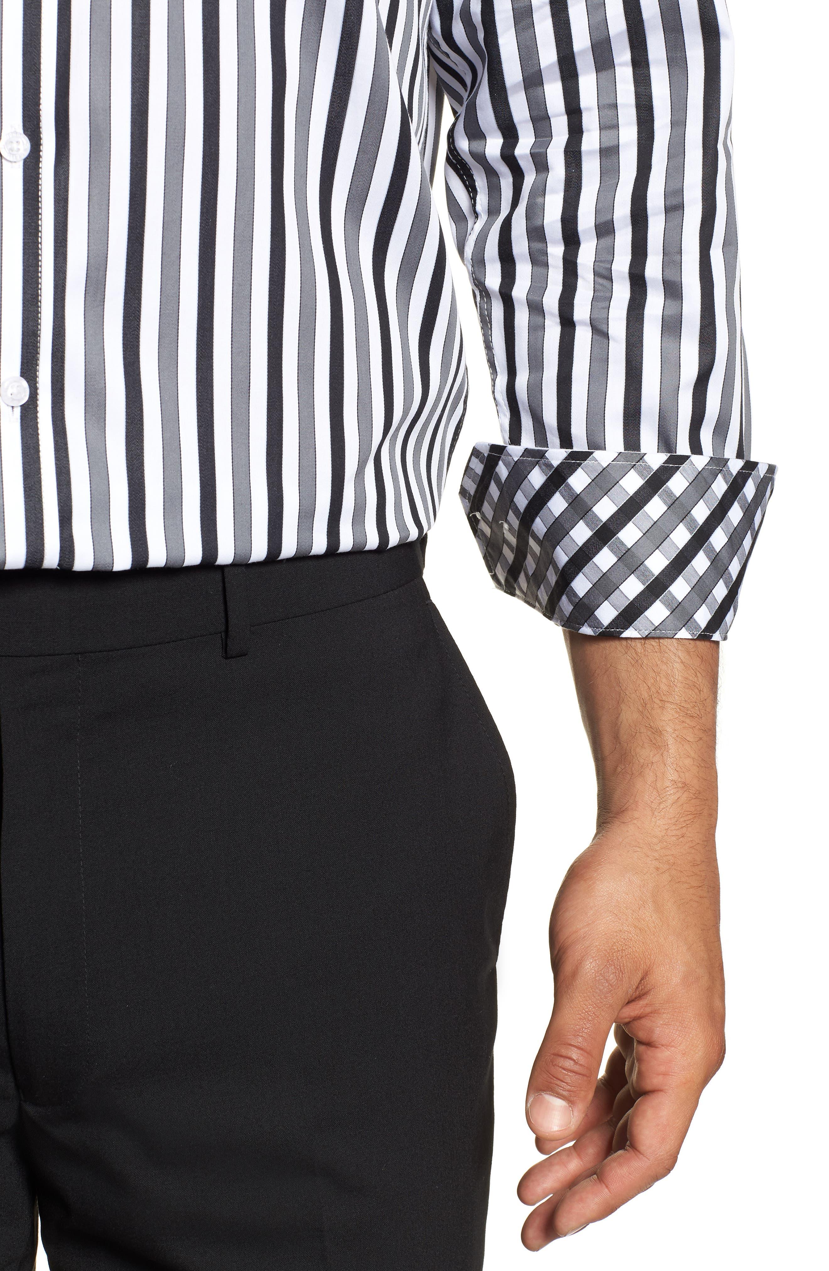 Regular Fit Stripe Dress Shirt,                             Alternate thumbnail 2, color,                             BLACK
