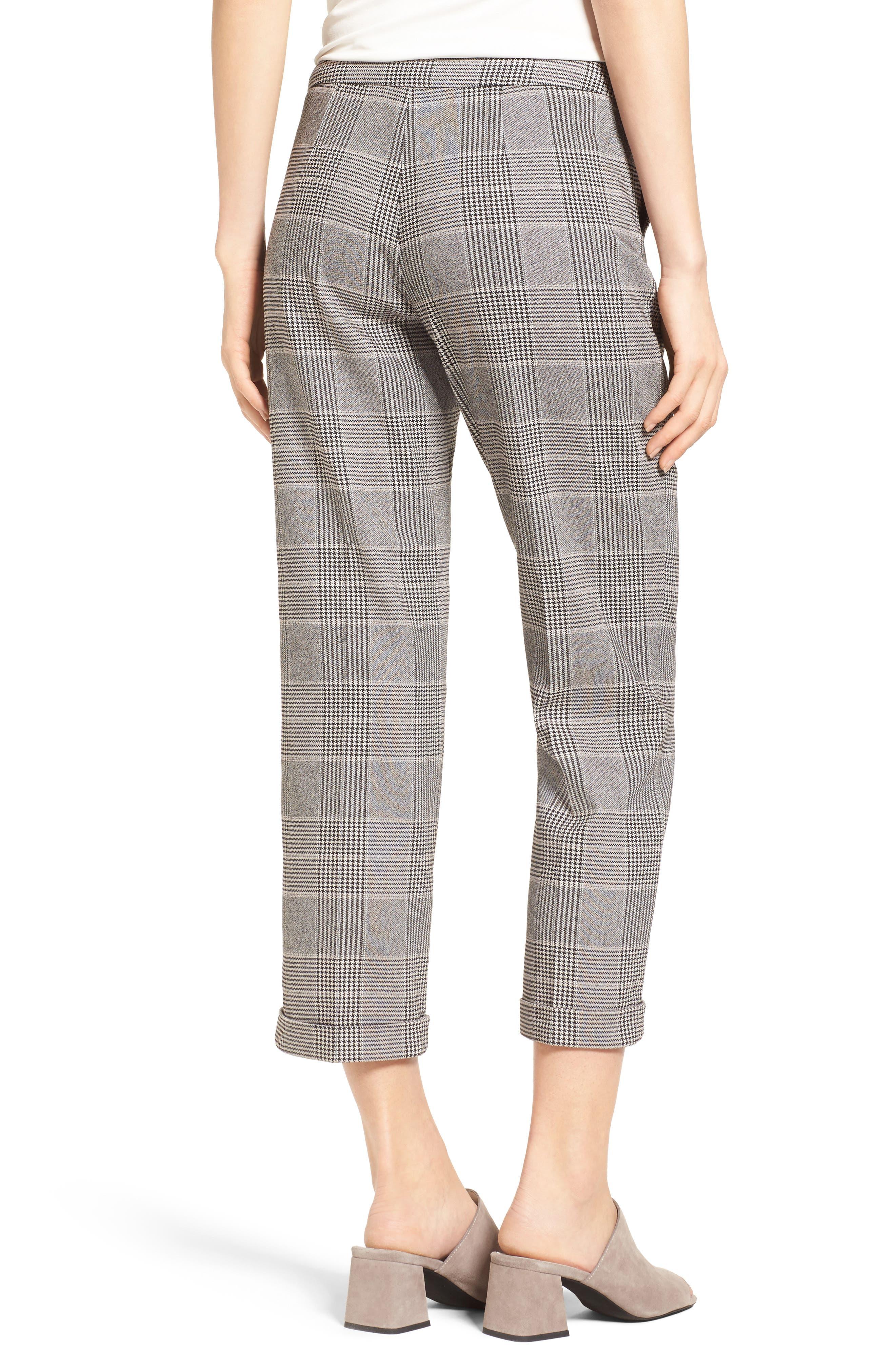 Denise Glen Plaid Cuff Slim Ankle Pants,                             Alternate thumbnail 2, color,                             001