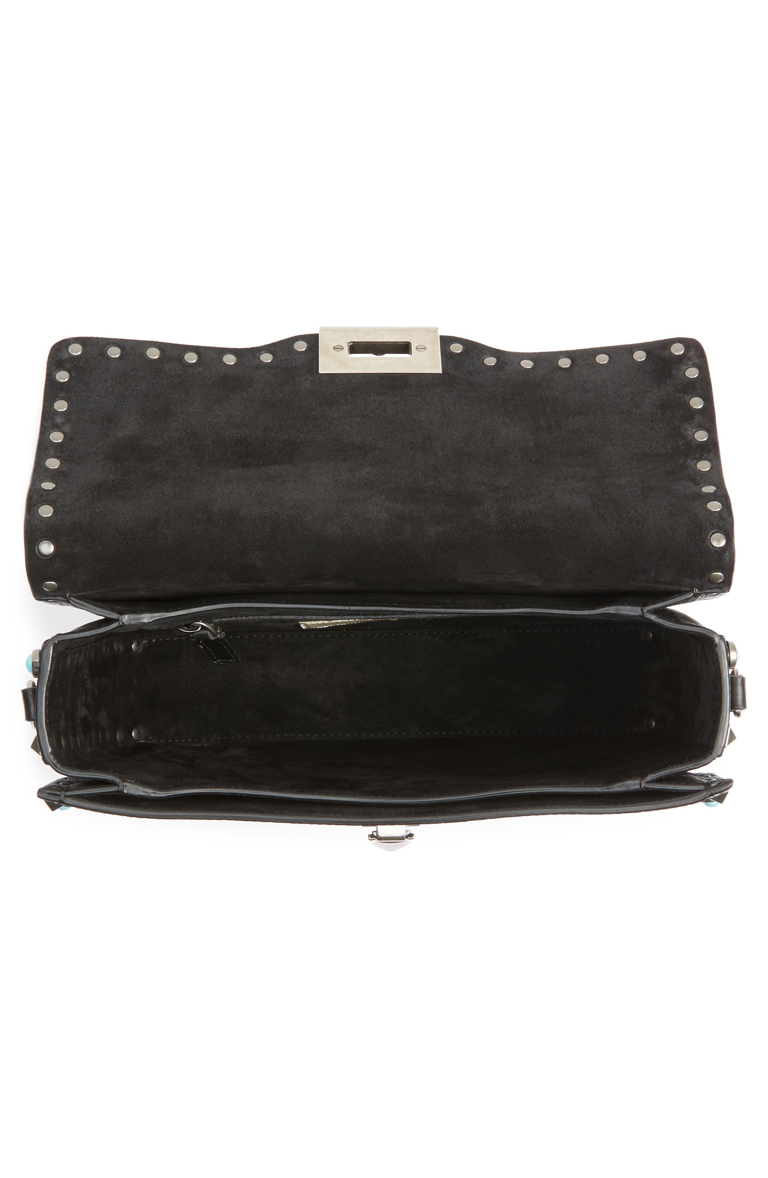 Rolling Rockstud Guitar Strap Leather Shoulder Bag,                             Alternate thumbnail 4, color,                             001