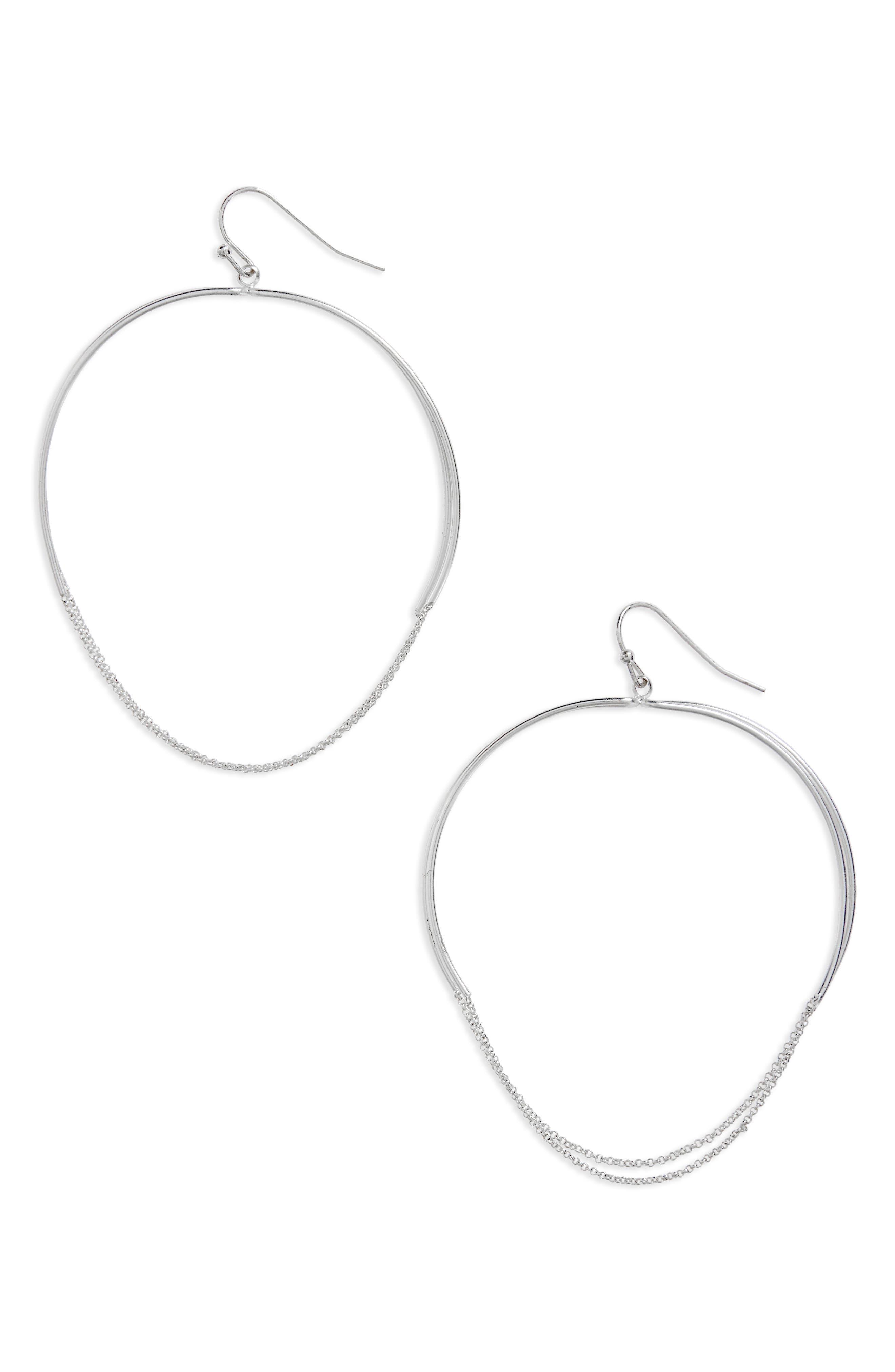 Large Chain Detail Hoop Earrings,                         Main,                         color, SILVER