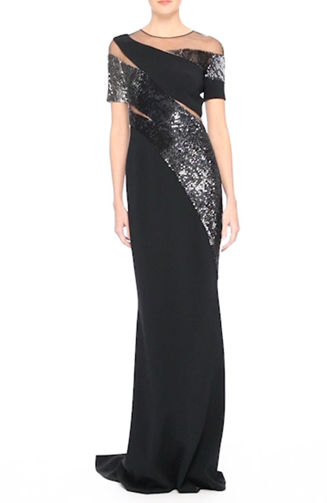 Sequined Silk Gown,                             Alternate thumbnail 7, color,