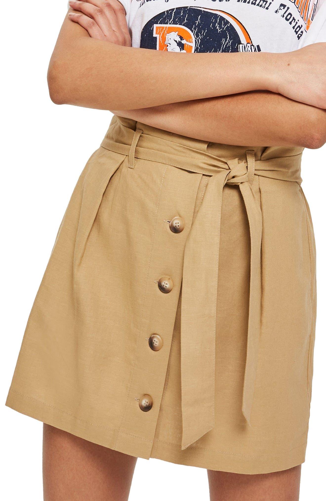 Linen Button Paperbag Miniskirt,                             Main thumbnail 1, color,                             CAMEL