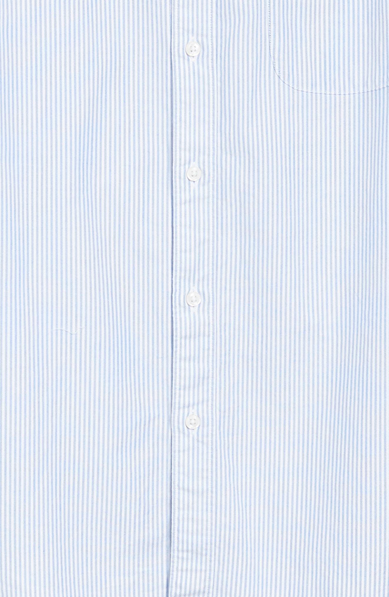 Stripe Pima Cotton Oxford Sport Shirt,                             Alternate thumbnail 6, color,                             RAINCOAT BLUE