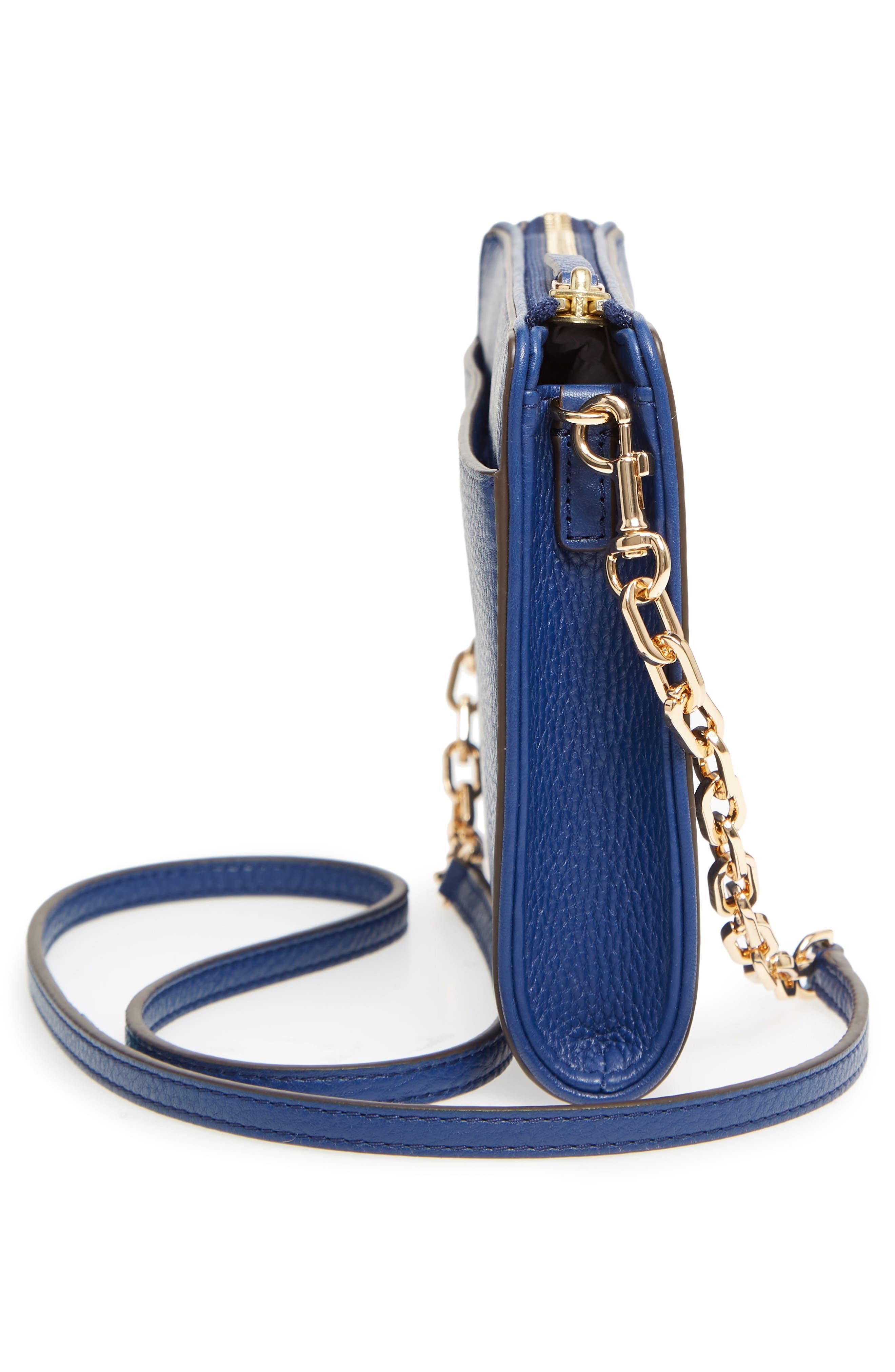 Marsden Leather Wallet Crossbody Bag,                             Alternate thumbnail 5, color,                             FRESH BLUEBERRY