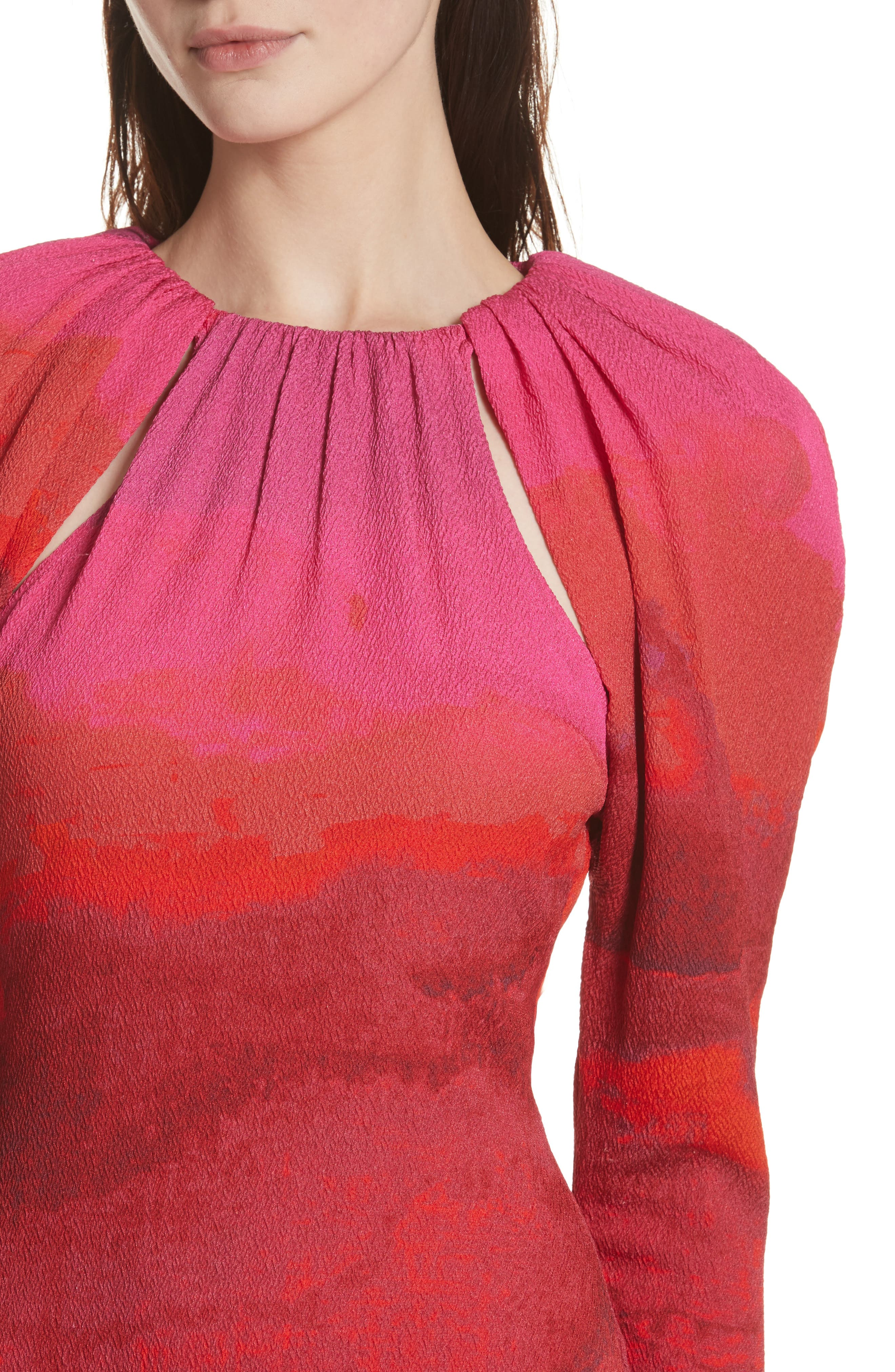 Abstract Print Stretch Silk Sheath Dress,                             Alternate thumbnail 4, color,                             605