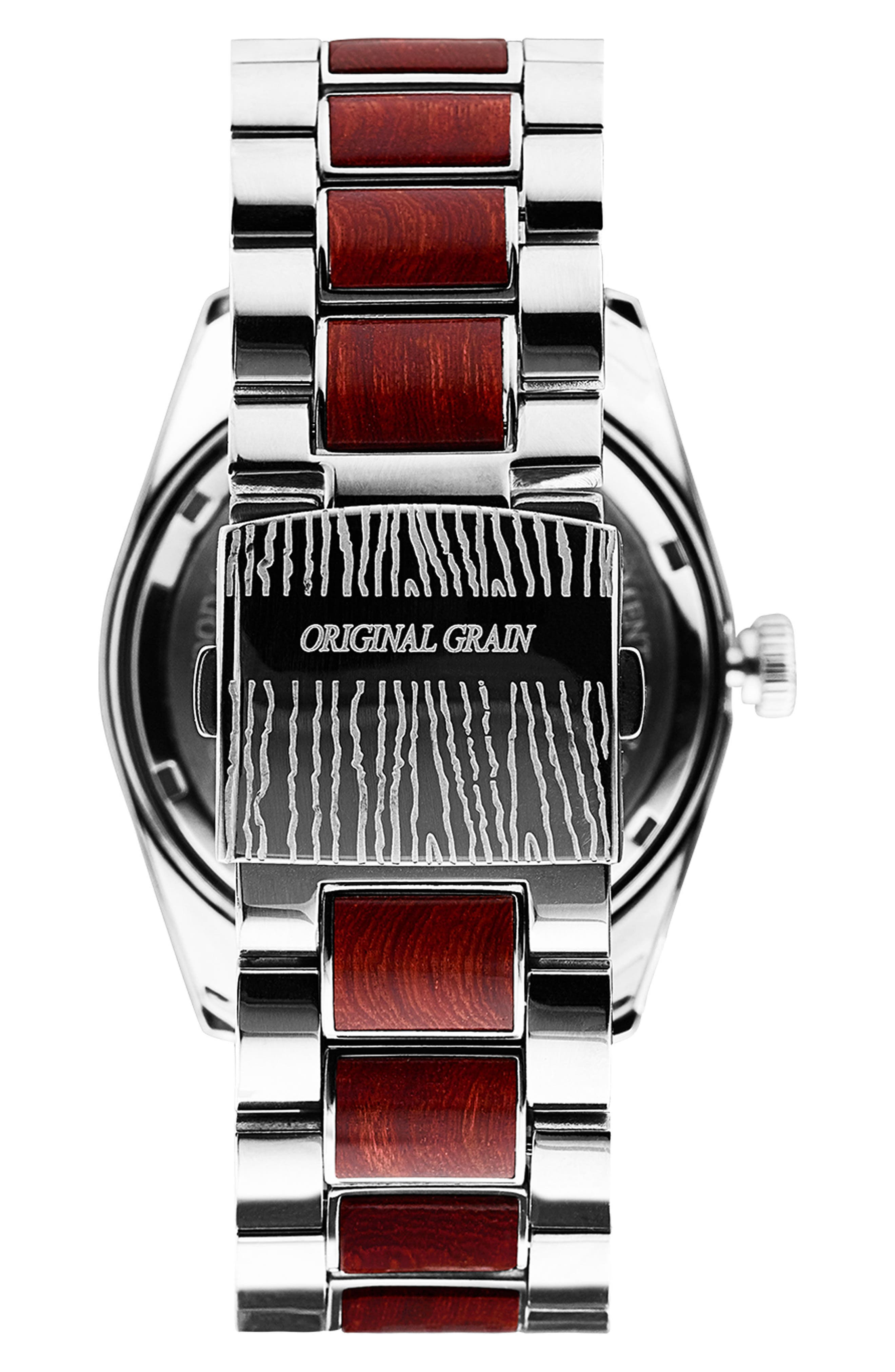 Rosewood Chrome Classic Bracelet Watch, 43mm,                             Alternate thumbnail 2, color,                             ROSEWOOD/ CHROME