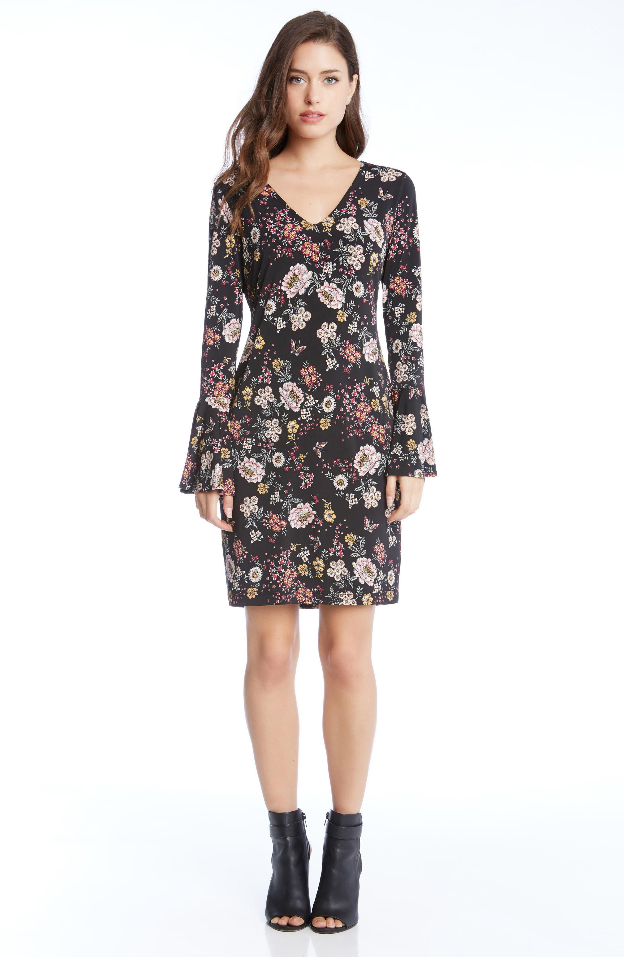 Floral V-Neck Bell Sleeve Dress,                             Alternate thumbnail 3, color,                             003