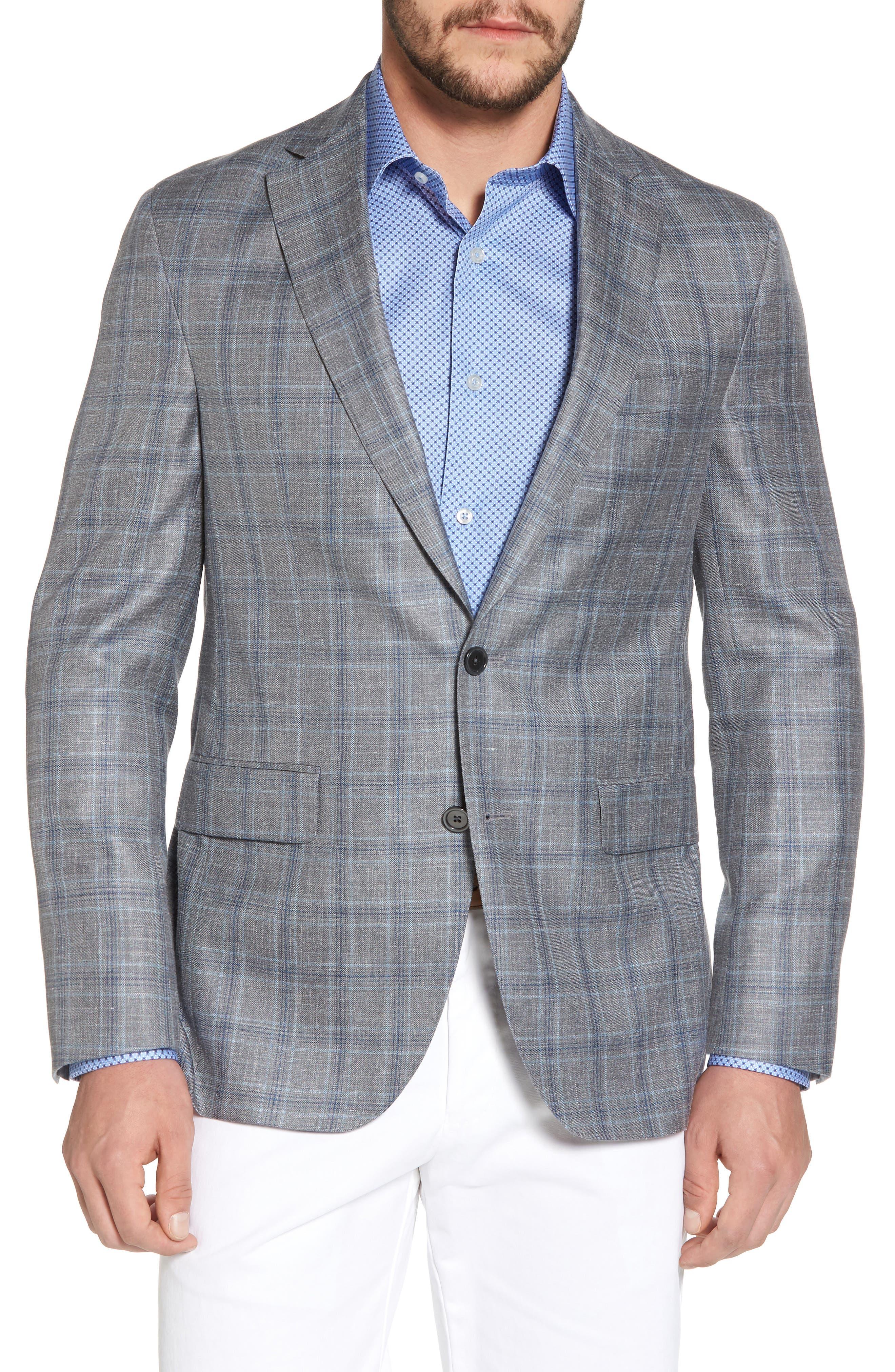 Arnold Classic Fit Plaid Wool Blend Sport Coat,                             Main thumbnail 1, color,                             020
