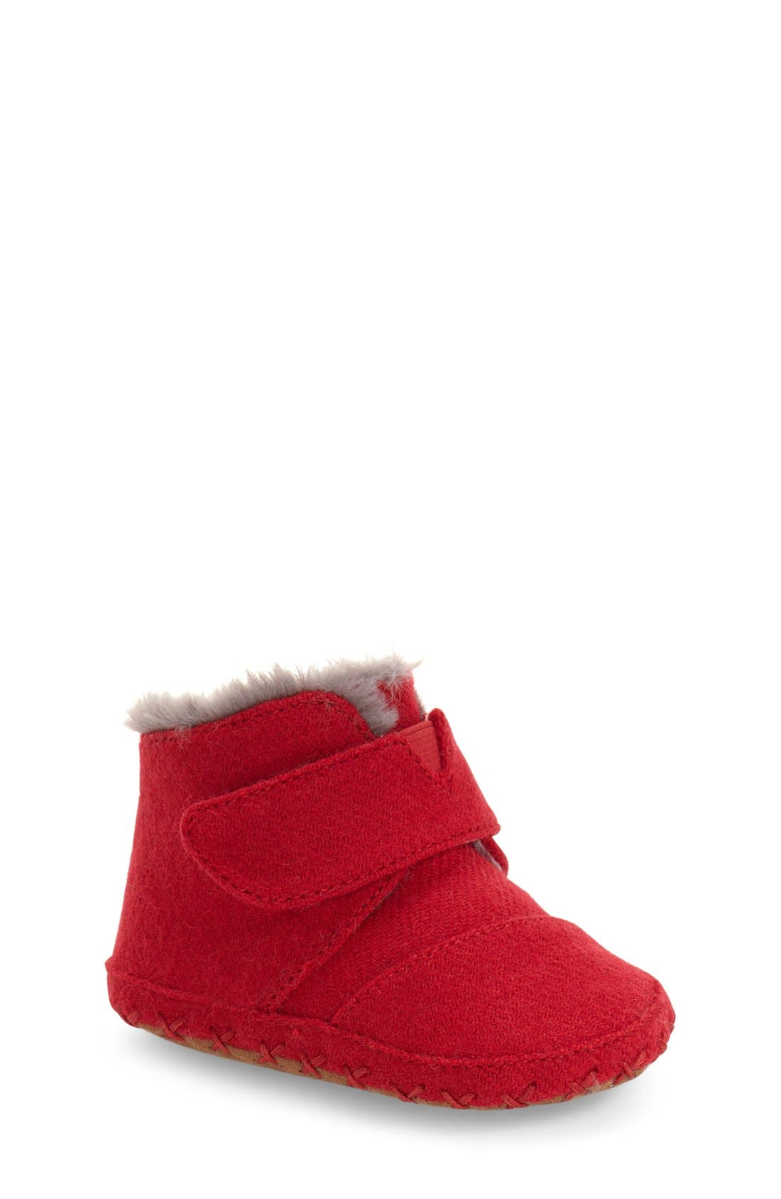 Cuna Layette Crib Shoe,                             Main thumbnail 1, color,                             RED