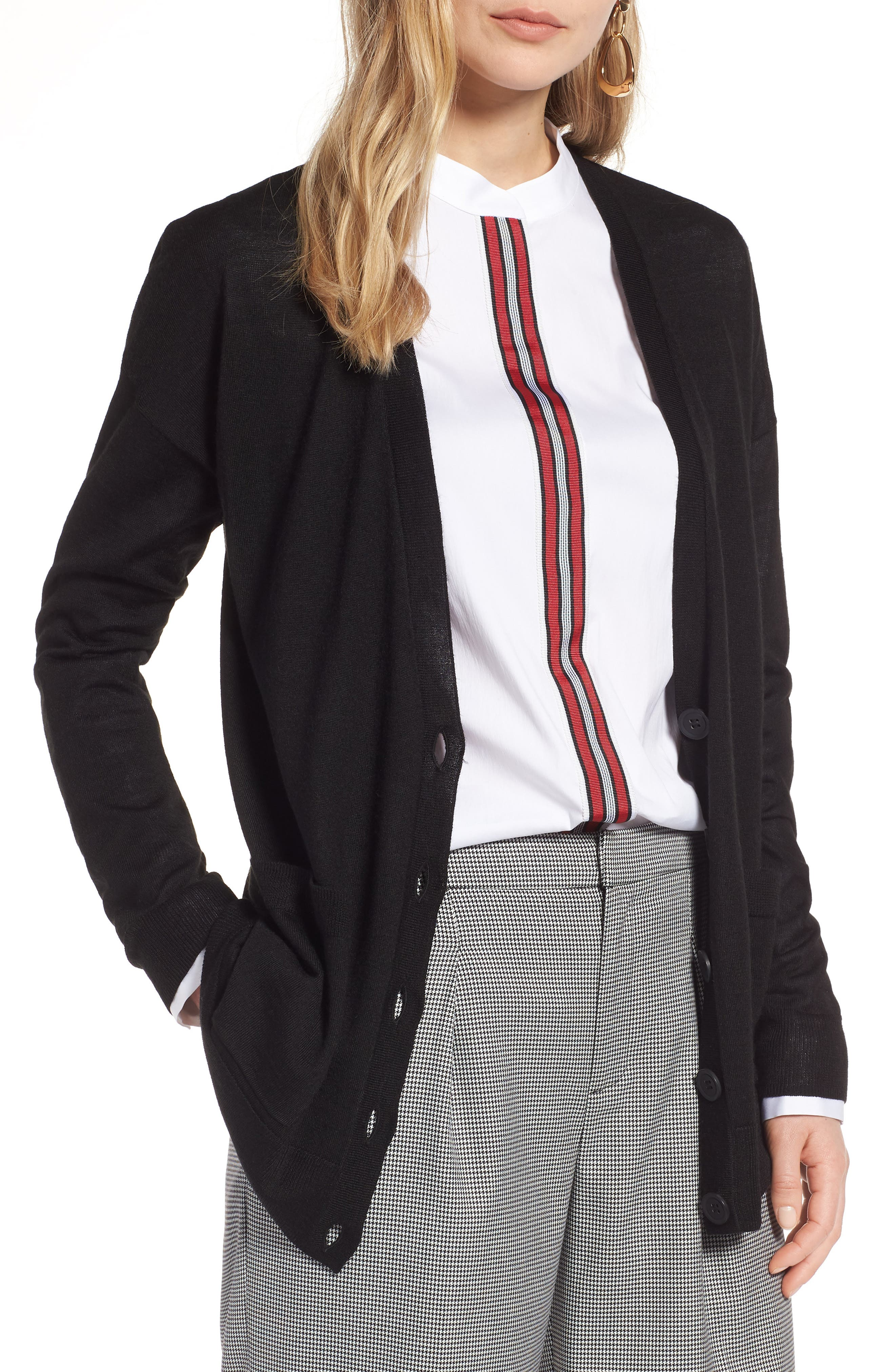 V-Neck Merino Wool Cardigan,                         Main,                         color, BLACK