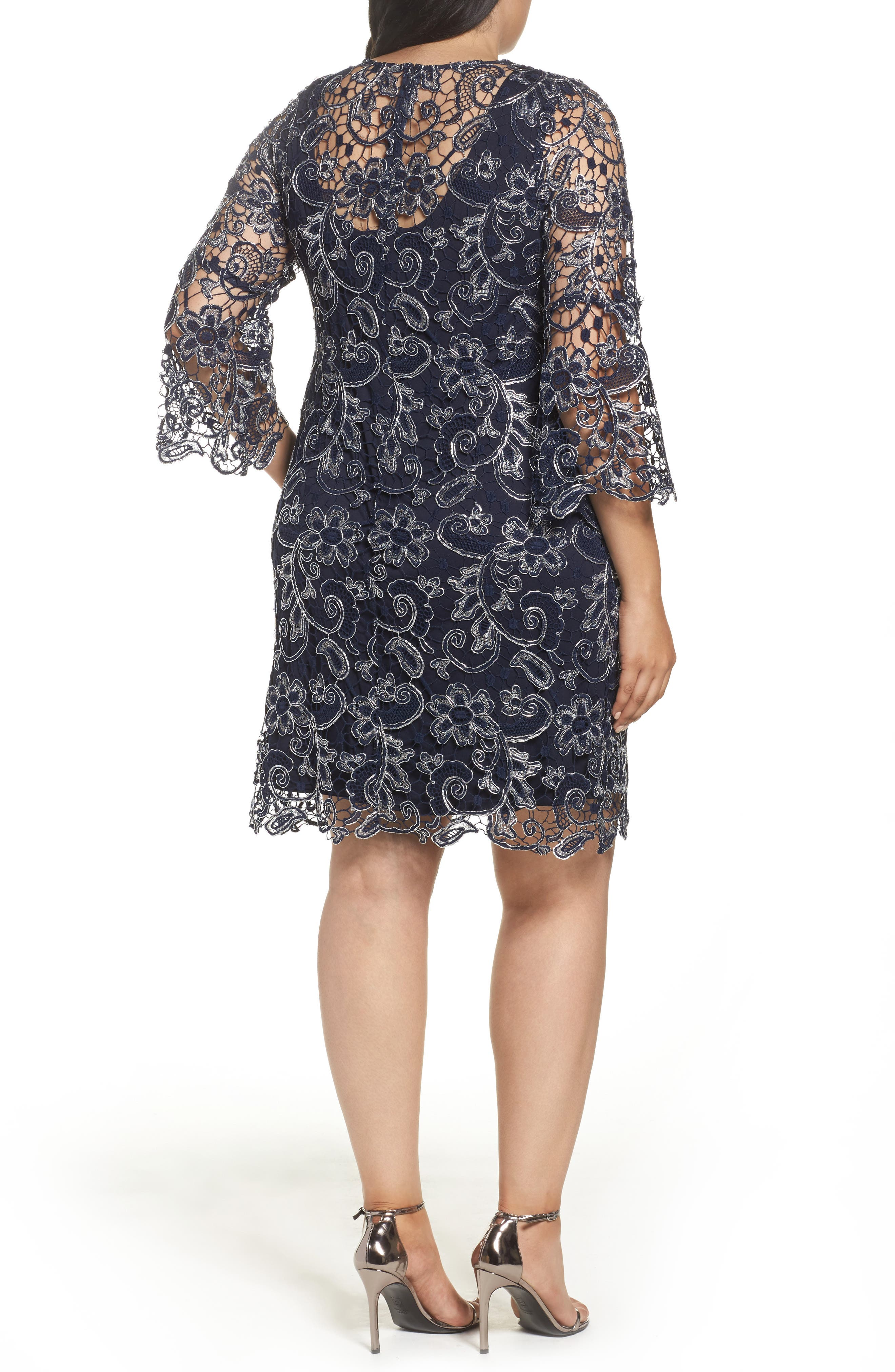 Bell Sleeve Lace Shift Dress,                             Alternate thumbnail 3, color,
