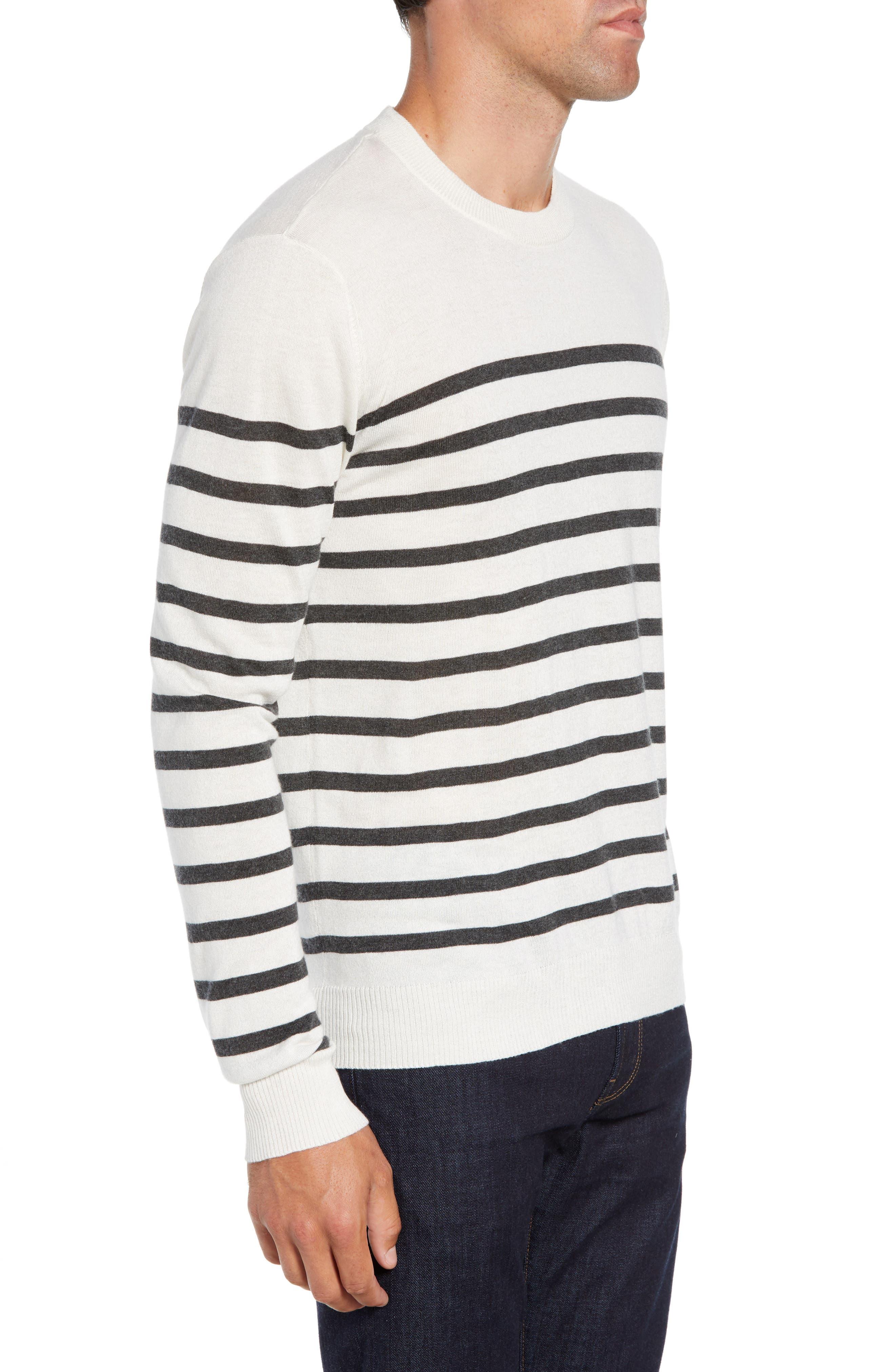 ATM ANTHONY THOMAS MELILLO,                             Sailor Stripe Silk Blend Sweater,                             Alternate thumbnail 3, color,                             CHALK/ CHARCOAL COMBO