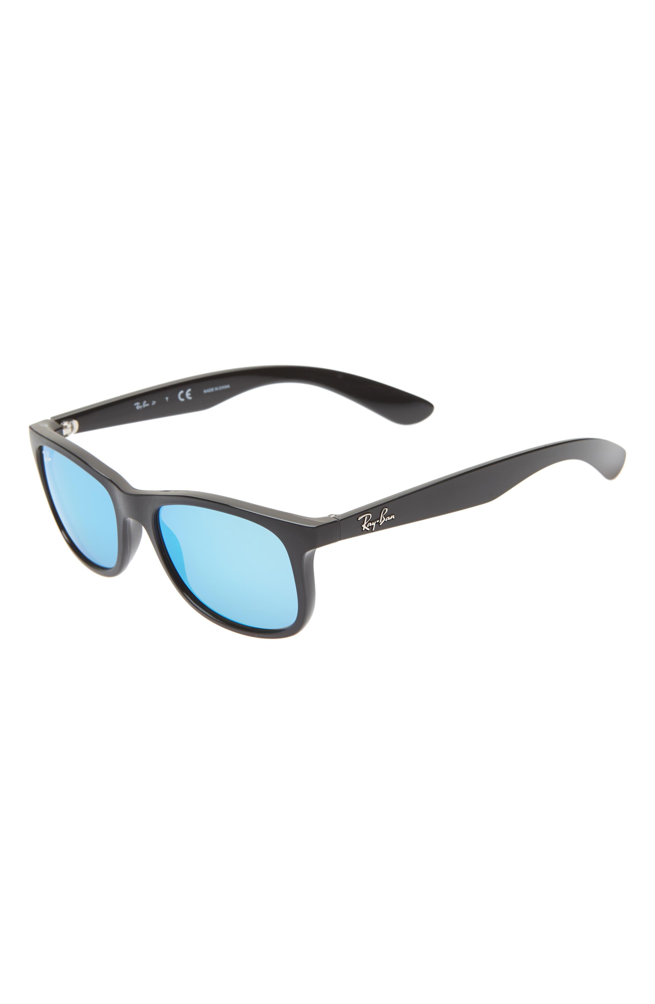 RAY-BAN,                             Junior 48mm Wayfarer Sunglasses,                             Main thumbnail 1, color,                             BLACK/ BLUE MIRROR
