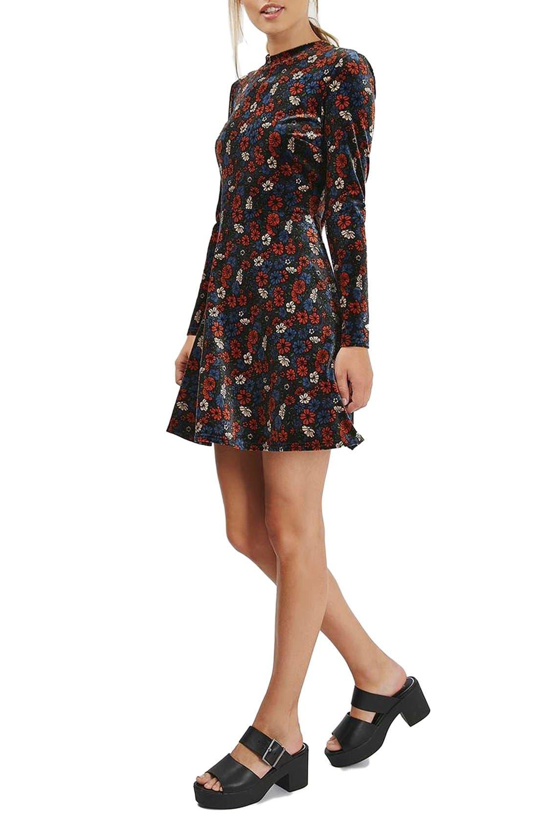 Ditsy Print Velvet Skater Dress,                             Alternate thumbnail 2, color,                             400