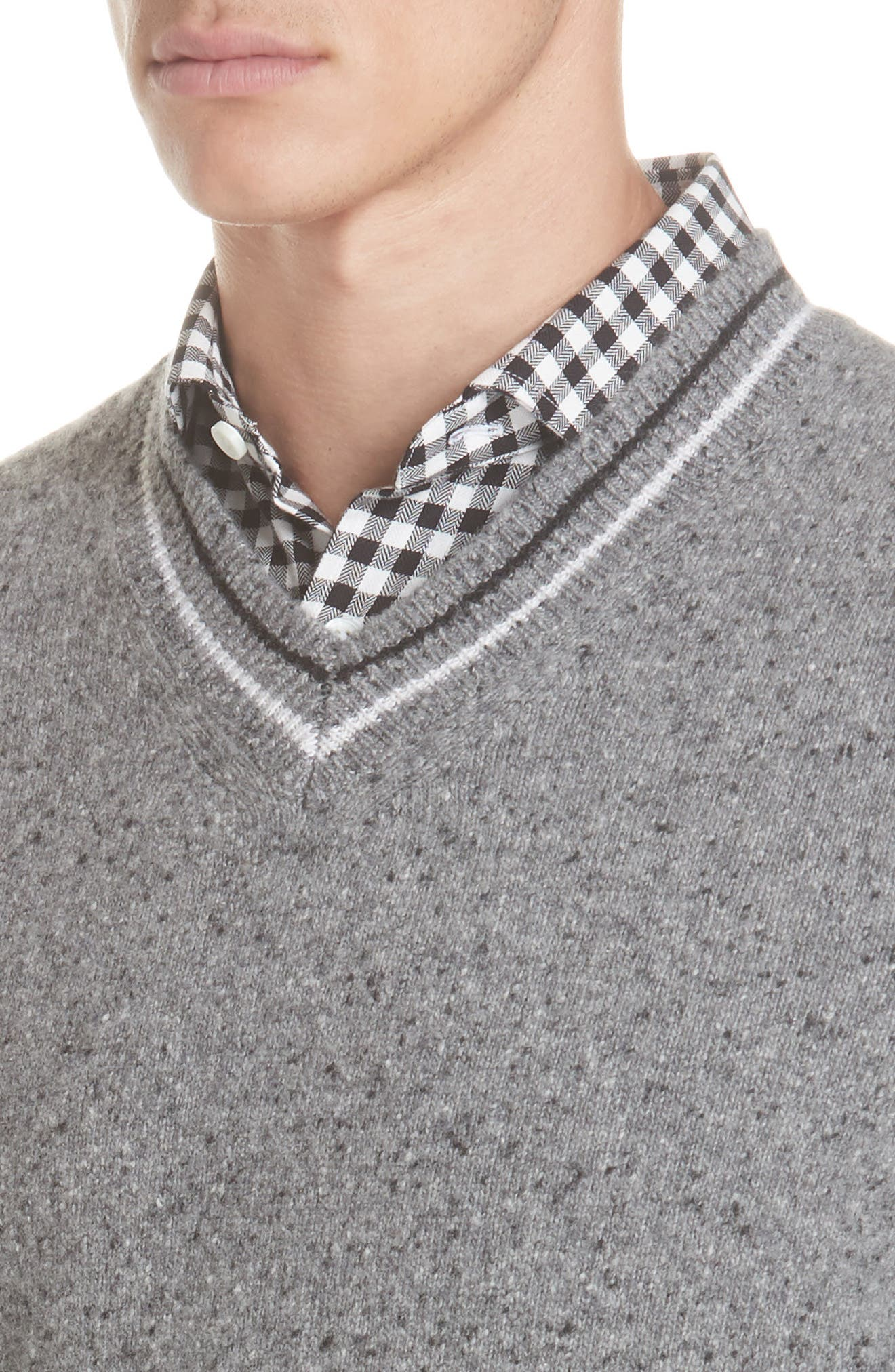 Trim Fit V-Neck Wool & Cashmere Sweater,                             Alternate thumbnail 4, color,                             GREY