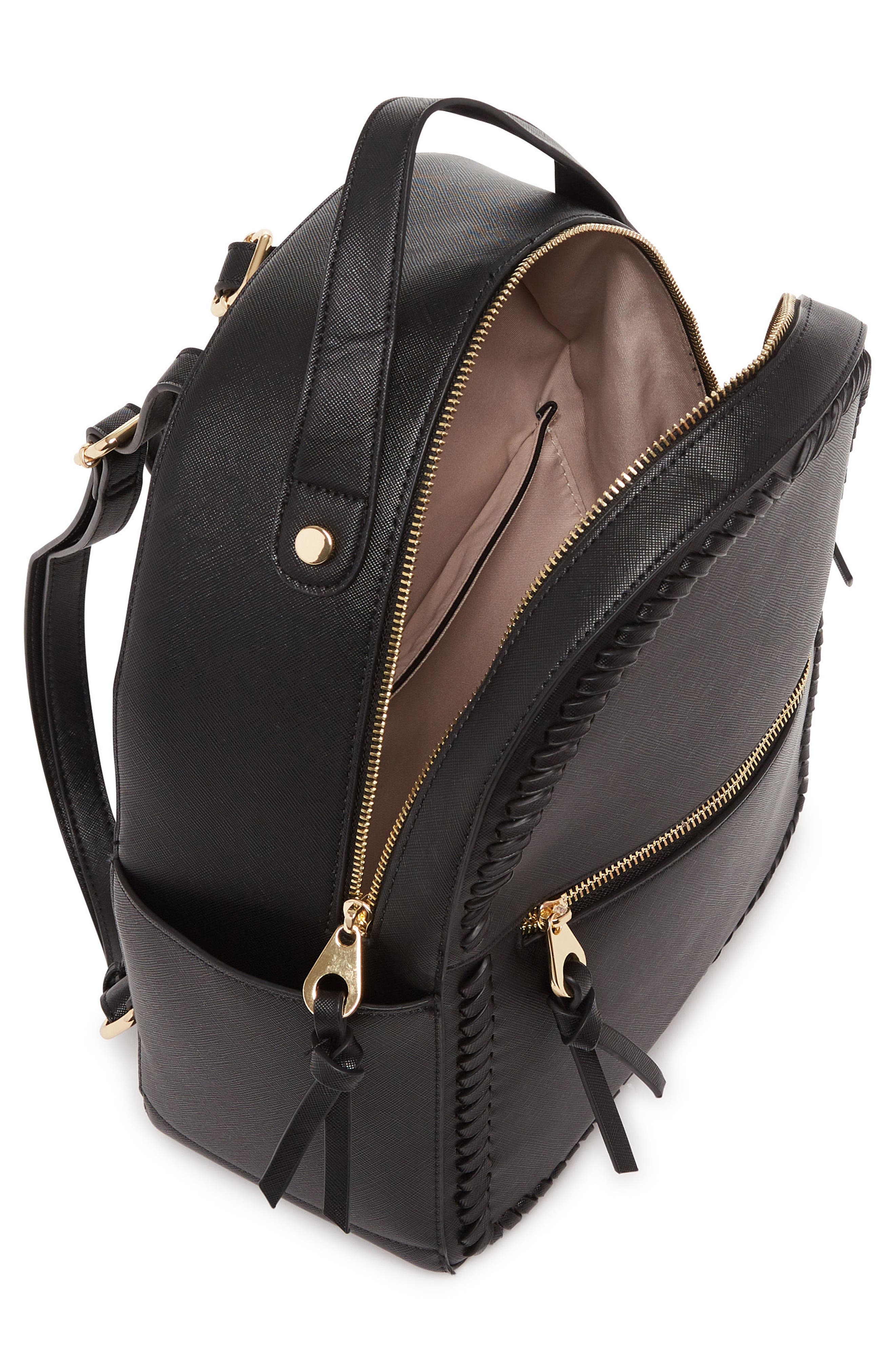 Kaya Faux Leather Round Backpack,                             Alternate thumbnail 3, color,                             BLACK