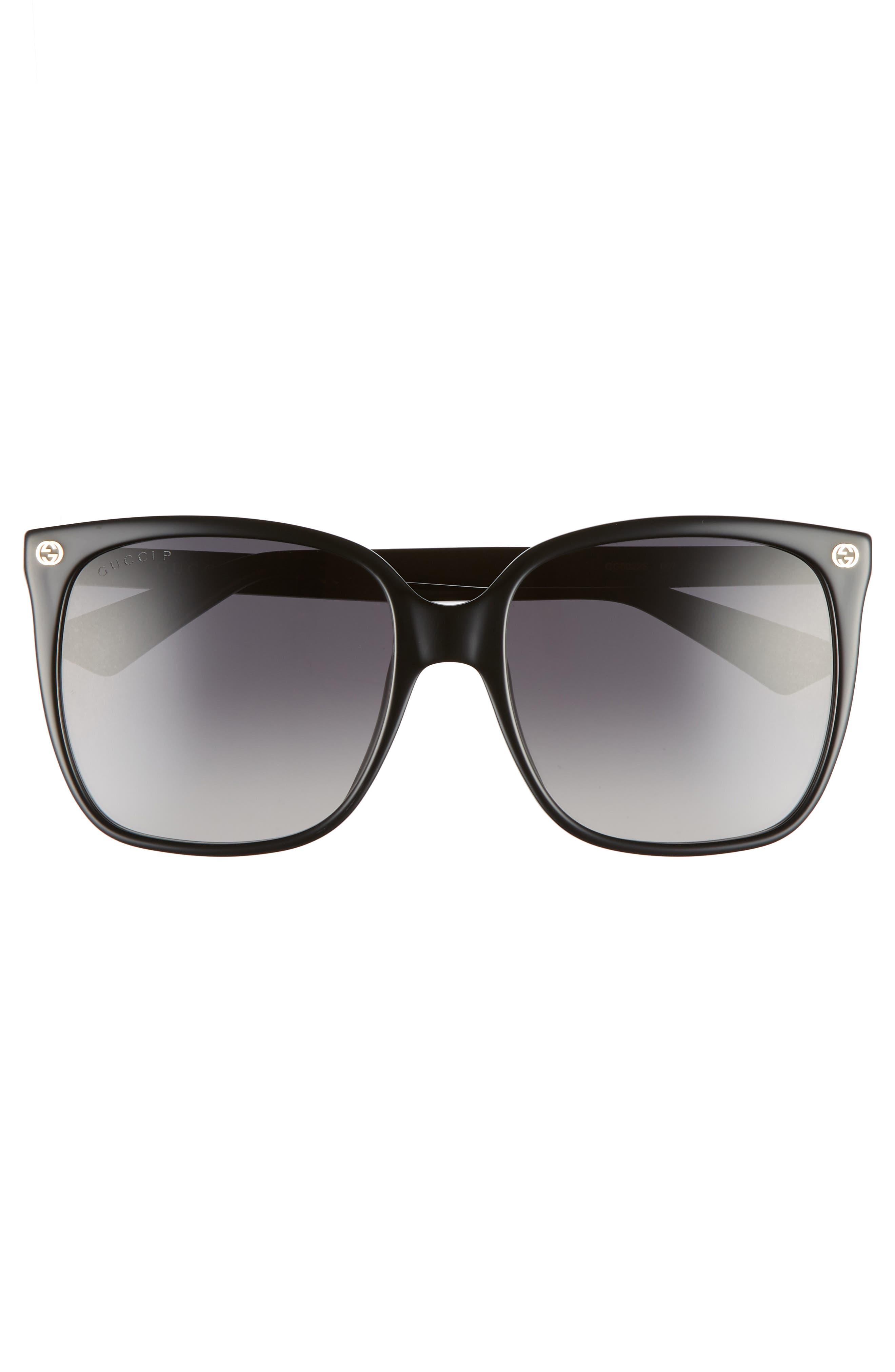 57mm Square Sunglasses,                             Alternate thumbnail 3, color,                             007