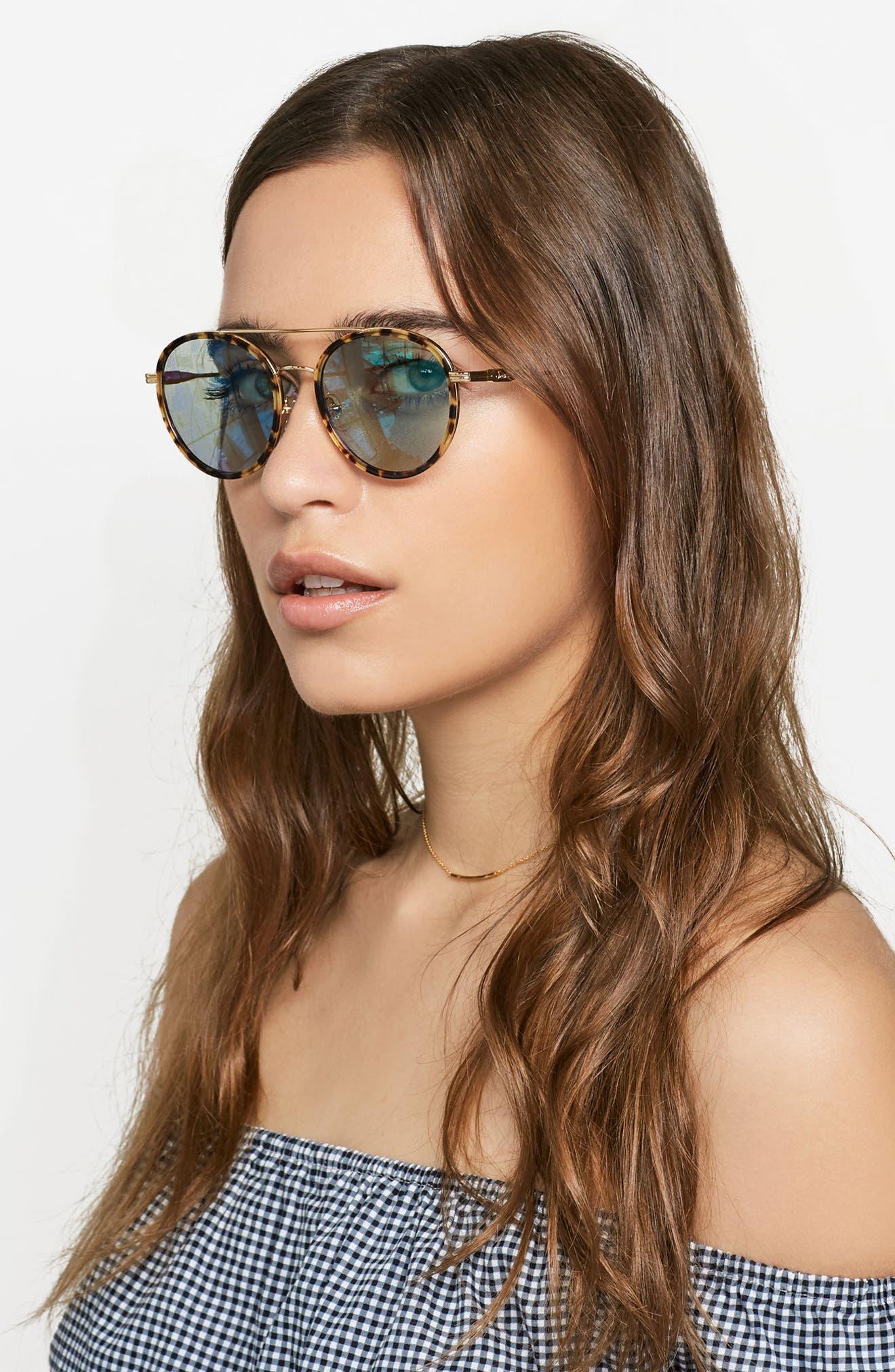 Charli 50mm Mirrored Lens Round Sunglasses,                             Alternate thumbnail 15, color,
